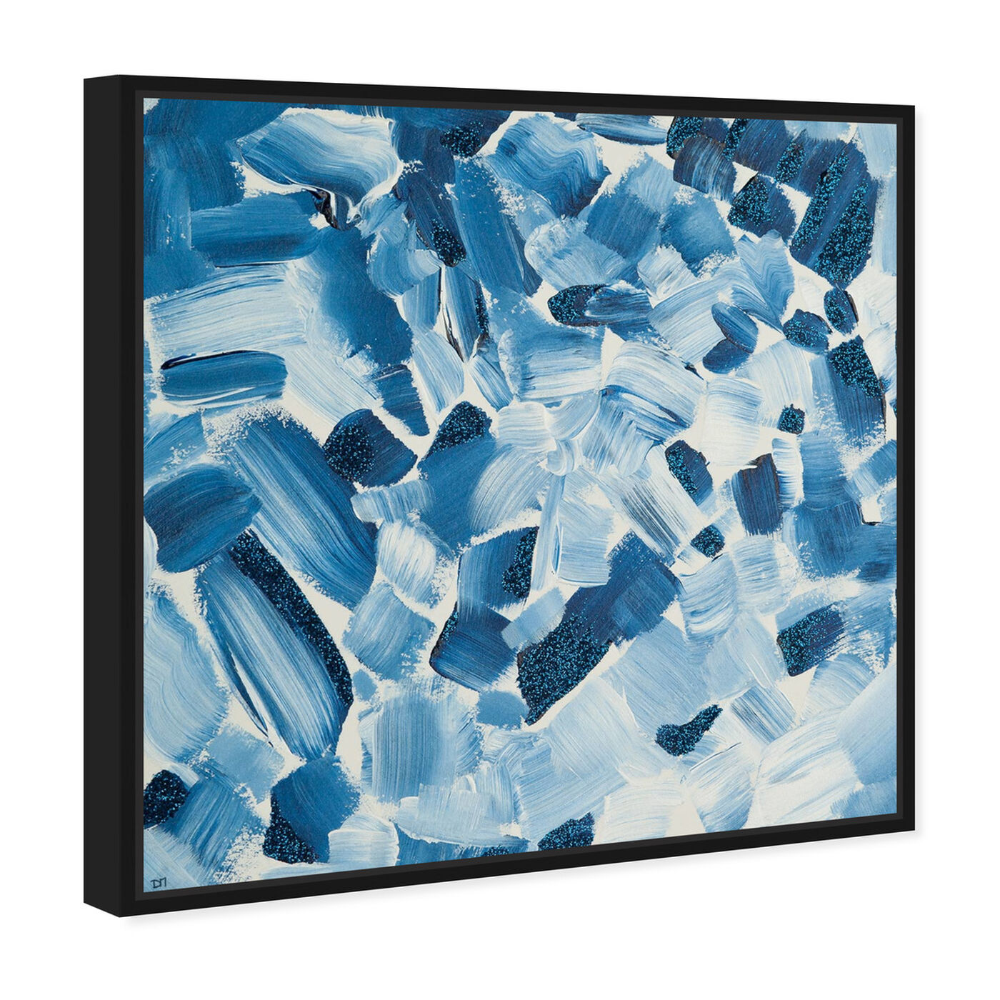 Angled view of Blue Christmas featuring abstract and paint art.