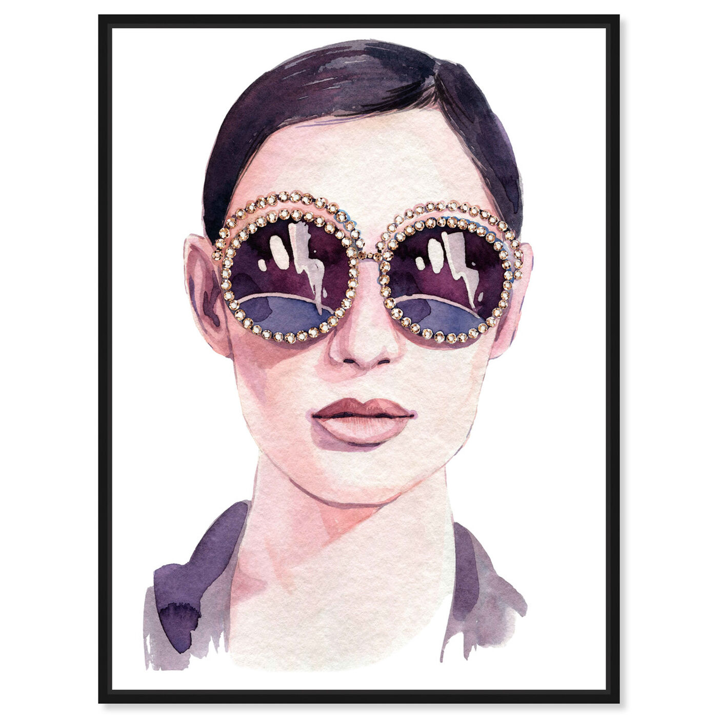 Front view of Jeweled Sunglasses featuring fashion and glam and accessories art.