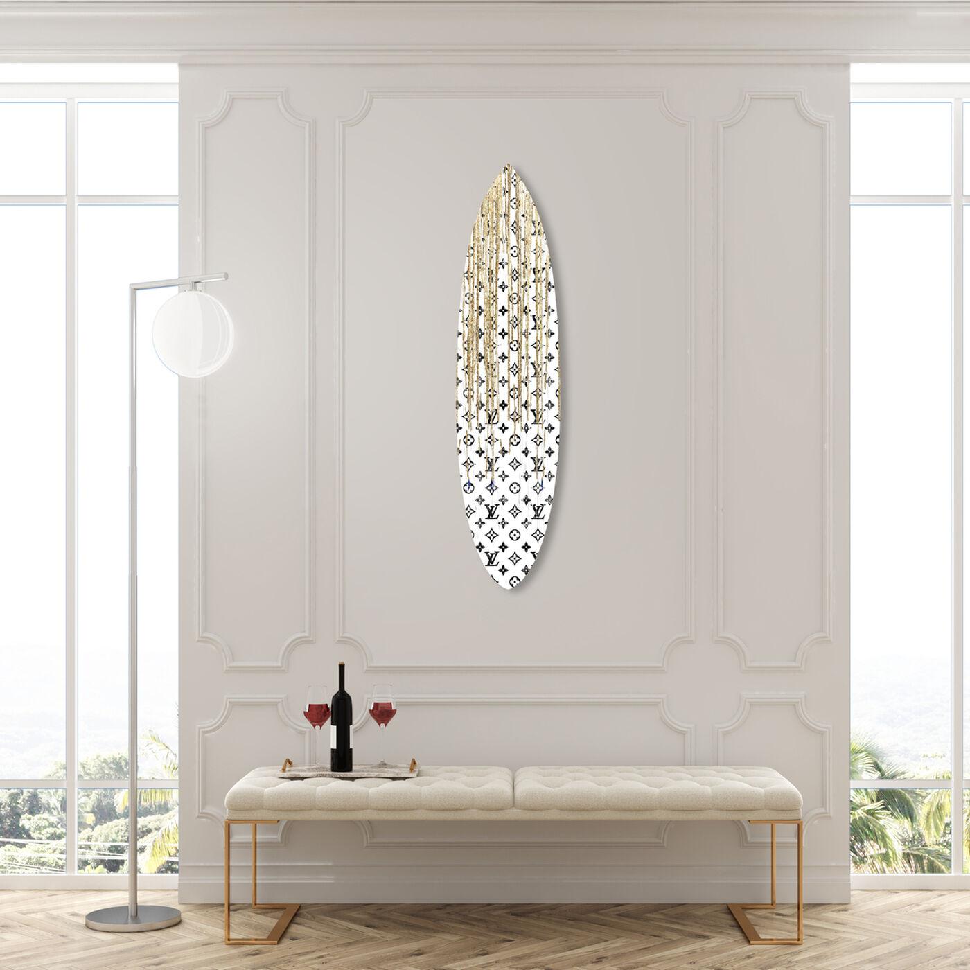 Pop Art Drip Gold Surfboard