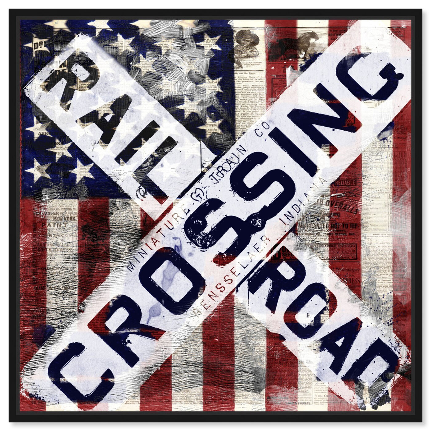 Front view of Railroad Crossing featuring americana and patriotic and us flags art.