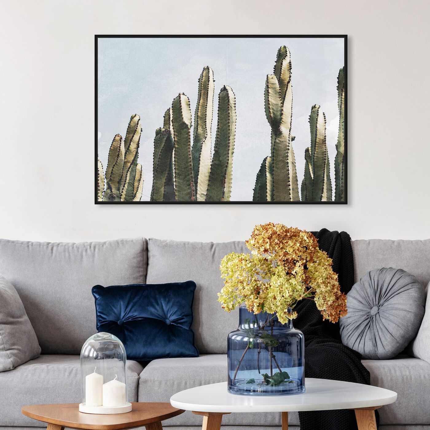 Hanging view of Muted Cactus featuring floral and botanical and botanicals art.