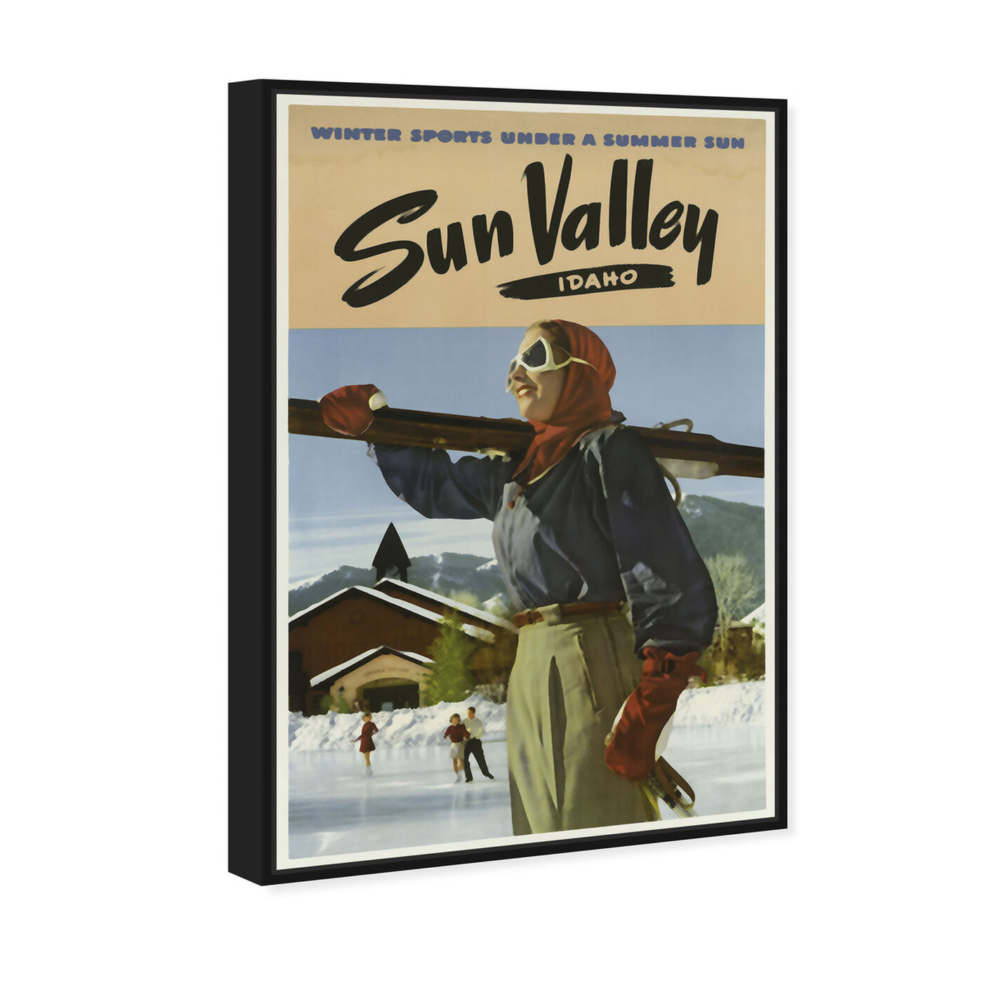 Angled view of Sun Valley featuring sports and teams and skiing art.