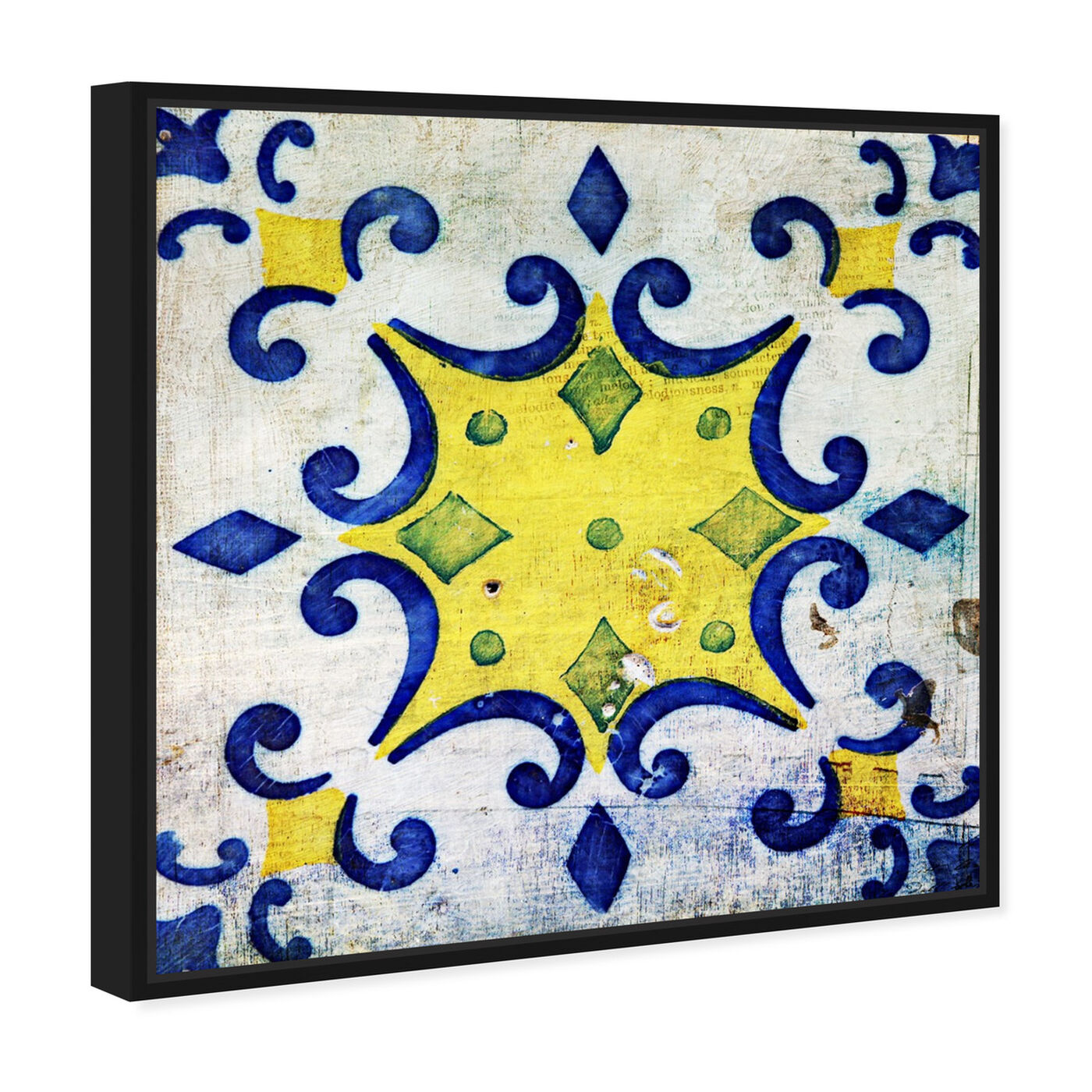 Angled view of Vita Yellow featuring abstract and patterns art.
