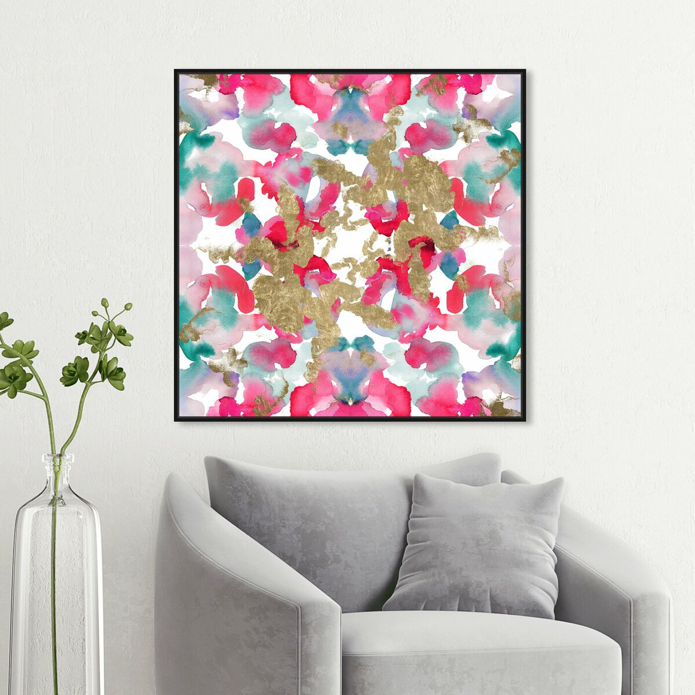 Hanging view of Excitement Gold featuring abstract and watercolor art.