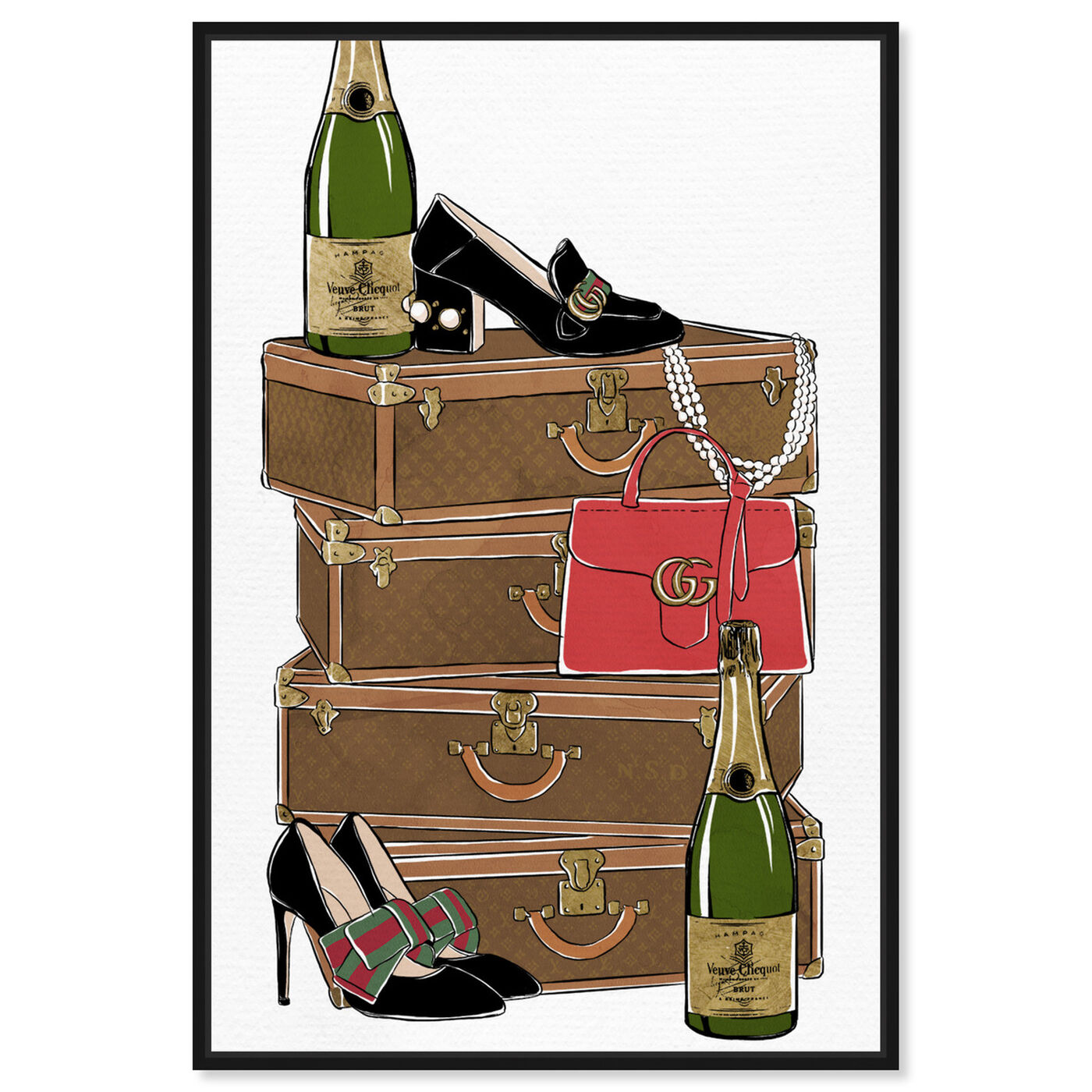 Front view of Traveling Party featuring fashion and glam and travel essentials art.
