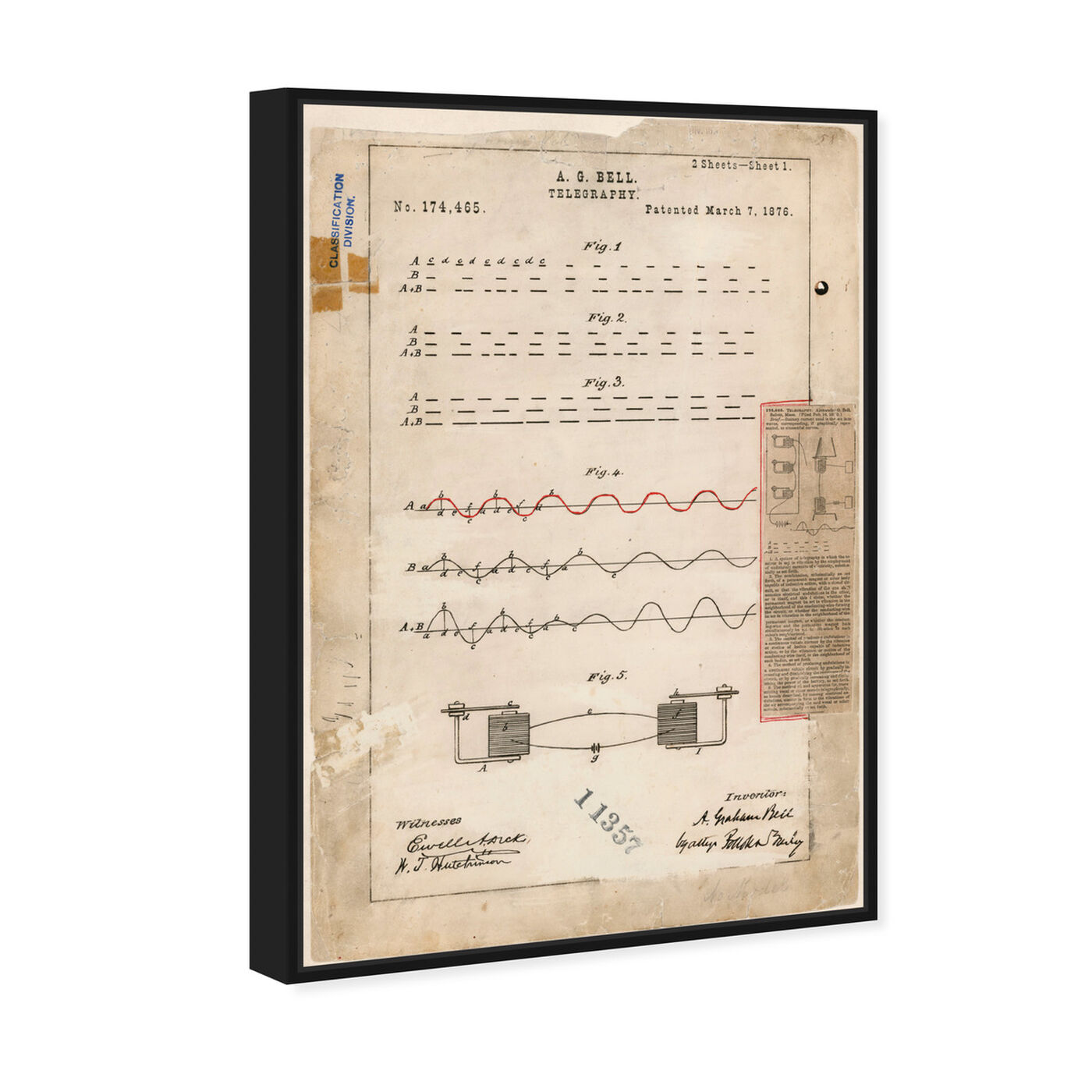 Angled view of Alexander Graham Bell's Telegraphy featuring symbols and objects and urban maps art.
