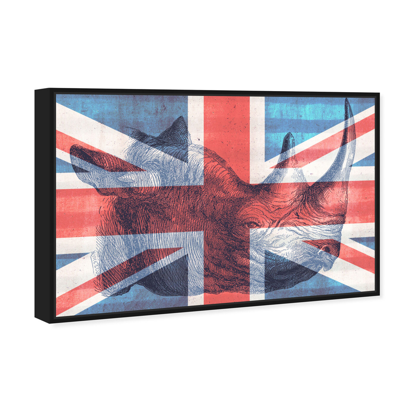 Angled view of Brit Rhino II featuring maps and flags and european cities flags art.