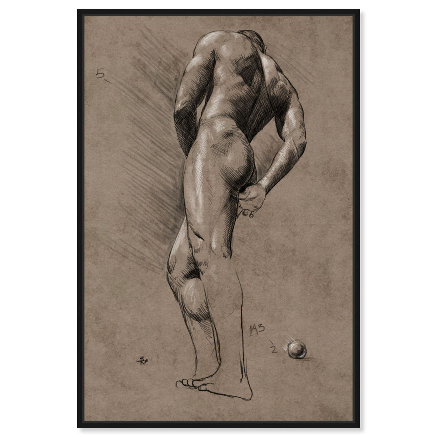 Front view of Male Figure Study featuring people and portraits and nudes art.