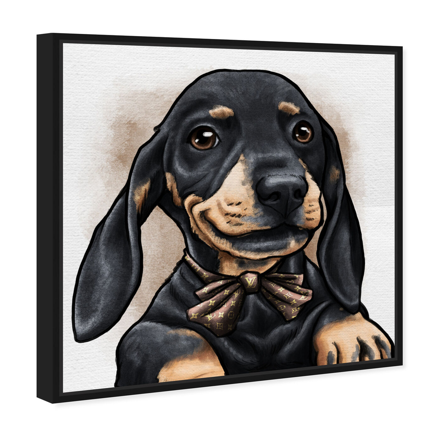Angled view of Dapper Dachshund featuring animals and dogs and puppies art.