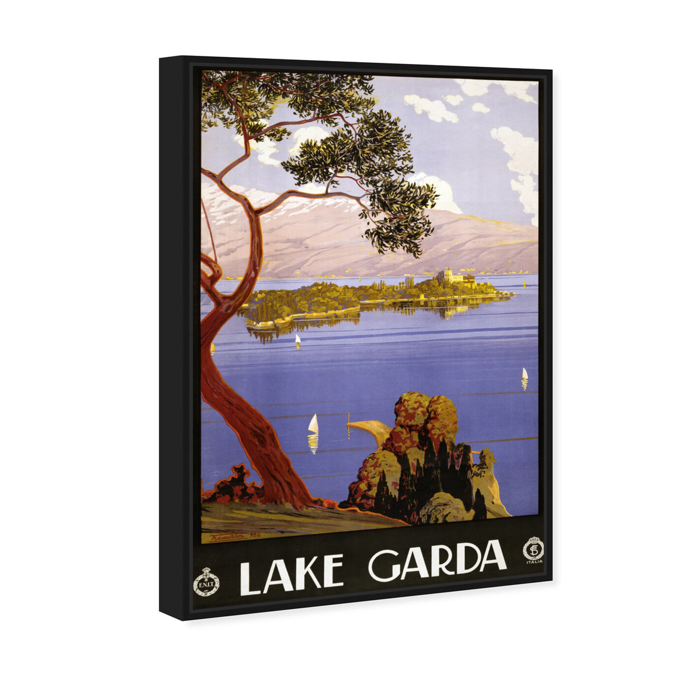 Angled view of Lake Garda featuring nature and landscape and nature art.