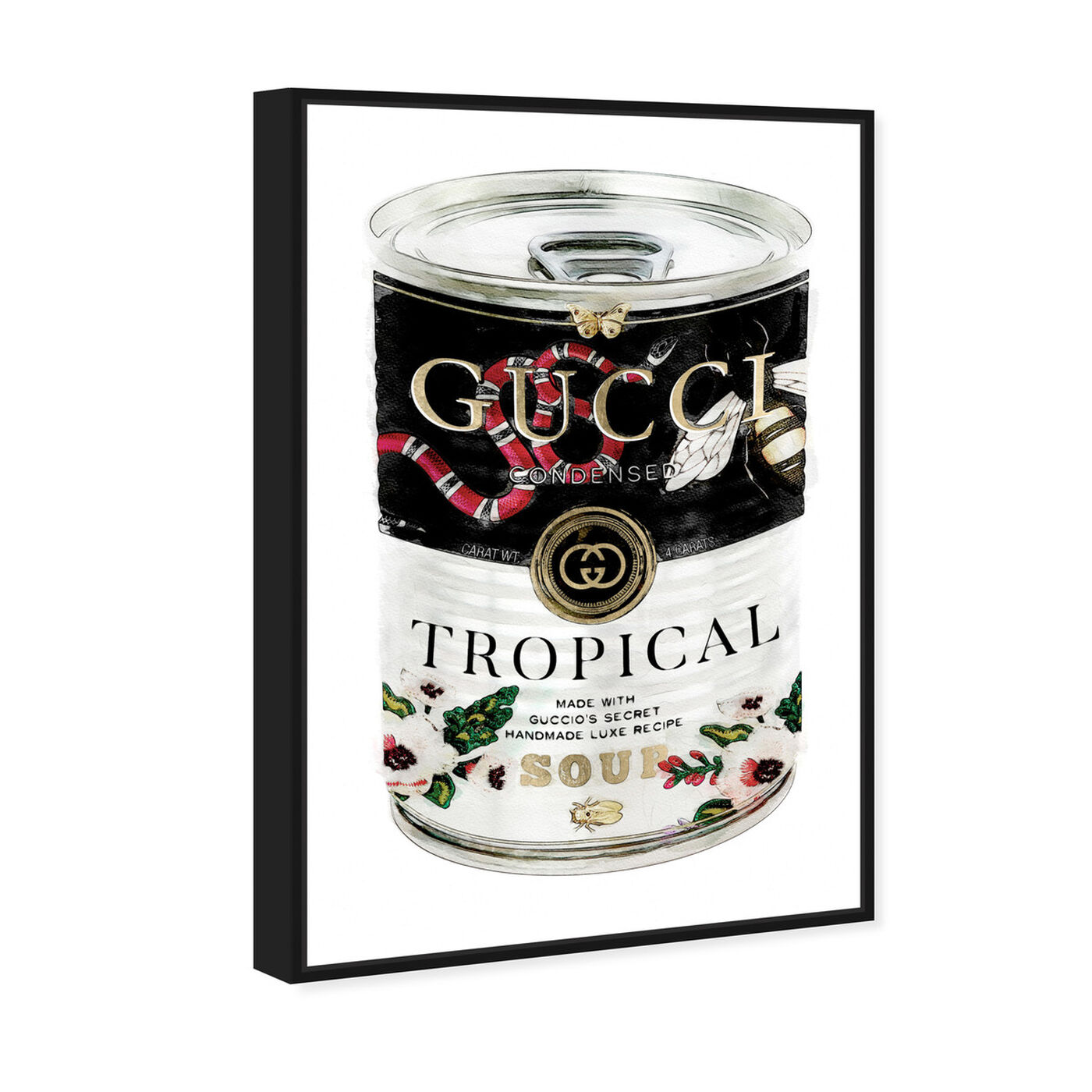 Angled view of Italian Luxe Soup featuring fashion and glam and soup can art.