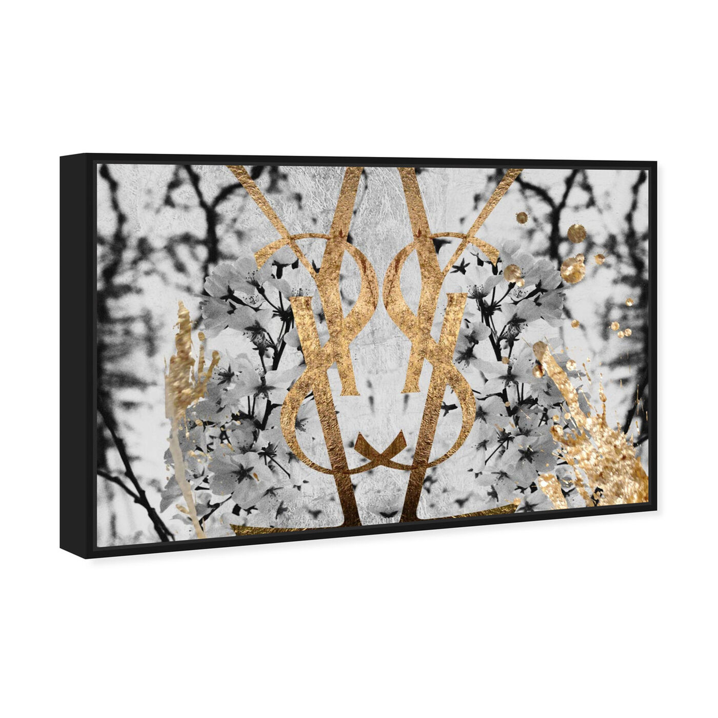 Angled view of Botanical Couture Noir featuring floral and botanical and botanicals art.