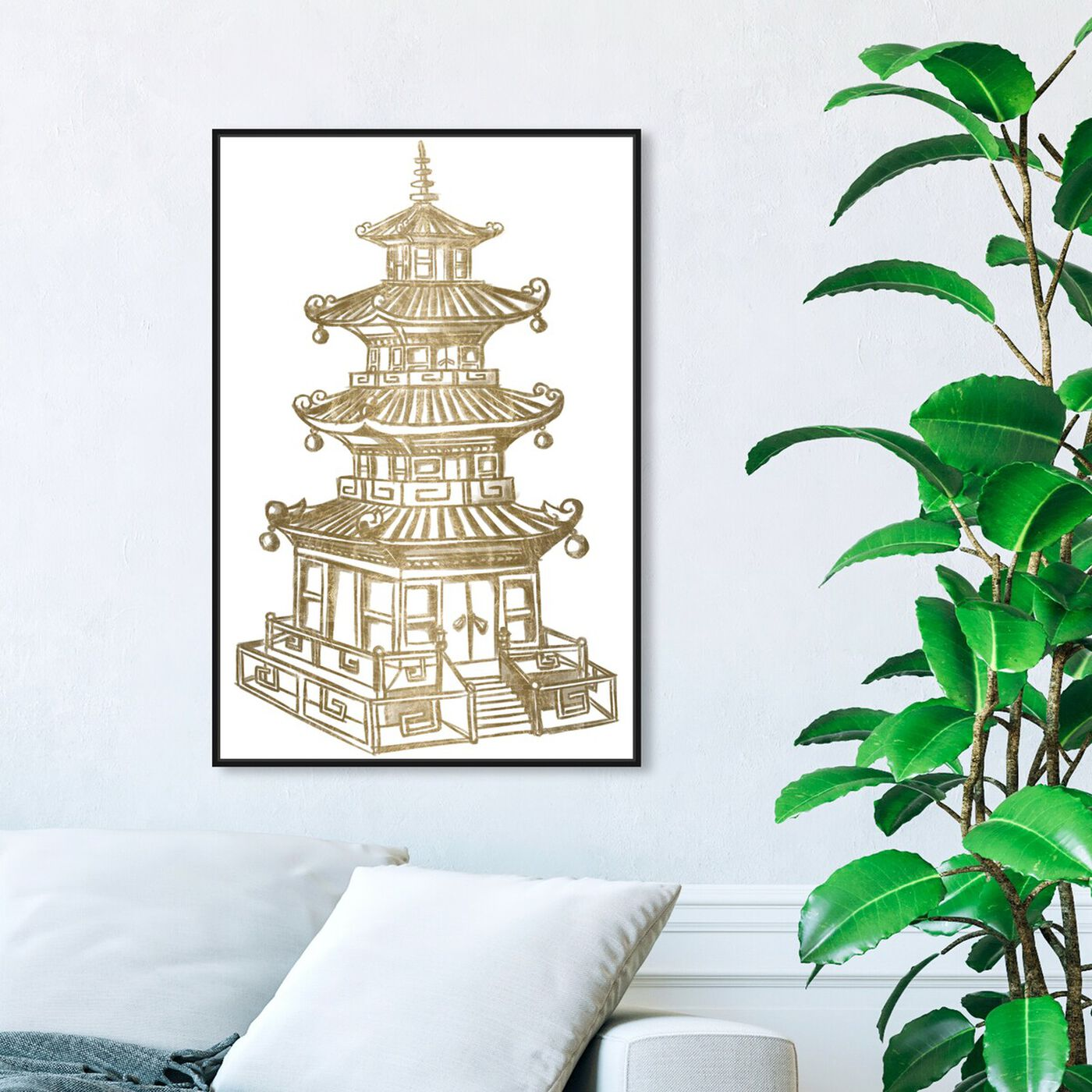 Hanging view of Pagoda Gold featuring architecture and buildings and asian buildings art.