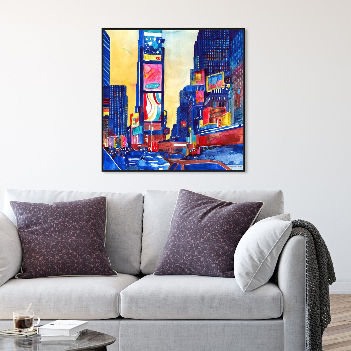 Hanging view of Maja Wronska - Lively Busy Street featuring cities and skylines and united states cities art.