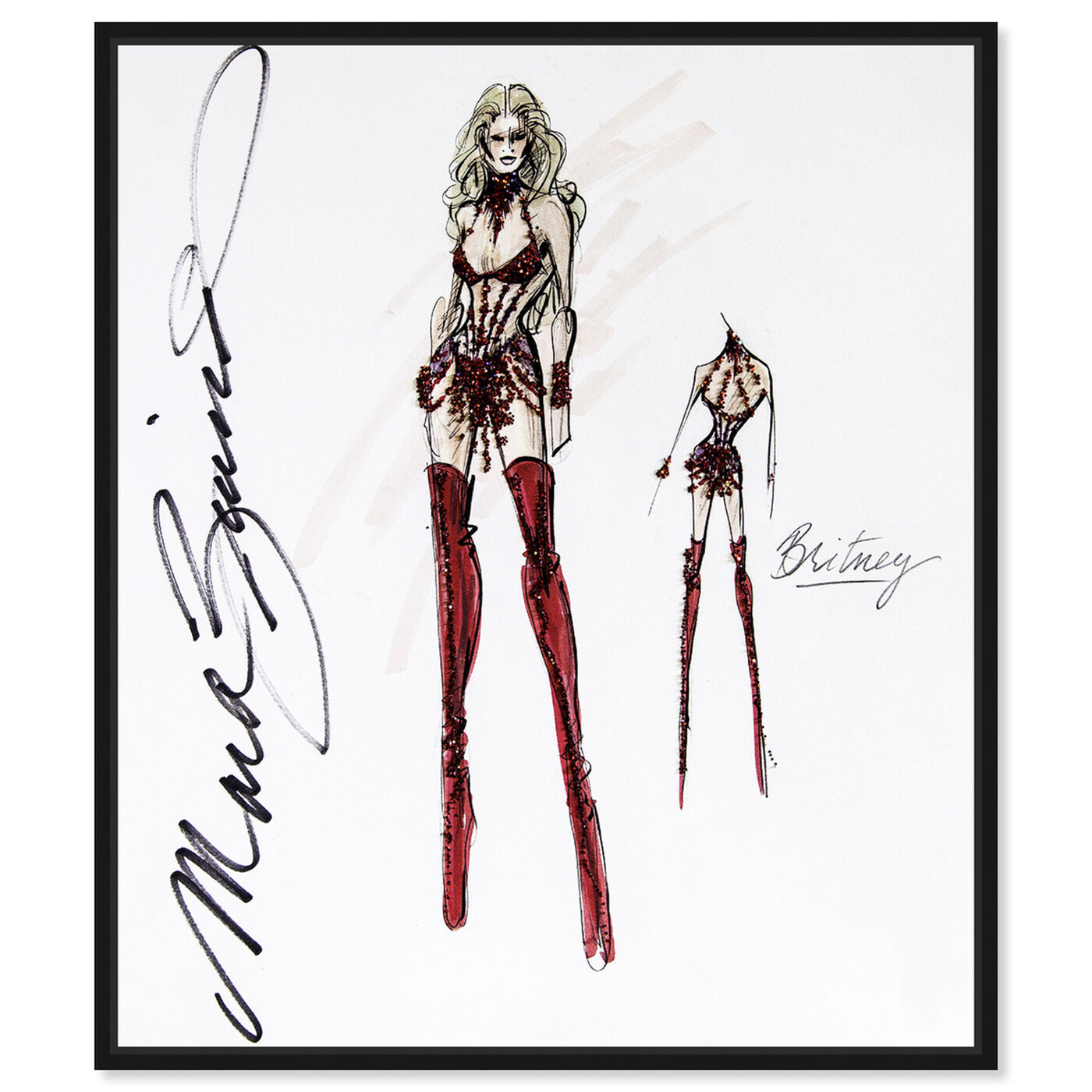 Front view of Mark Zunino - Diva Britney featuring fashion and glam and sketches art.