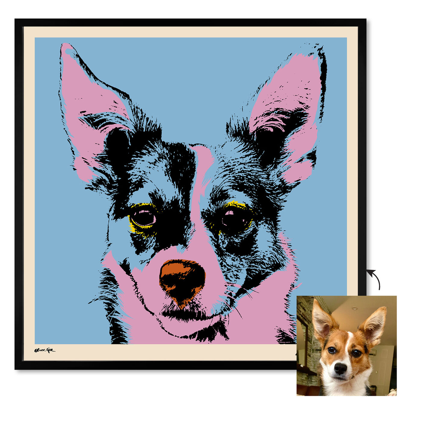 Front view of Pet Warhol featuring animals and dogs and puppies art.