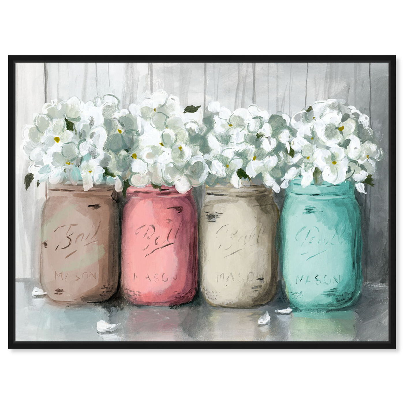 Front view of Mason Jar Turquoise featuring floral and botanical and florals art.
