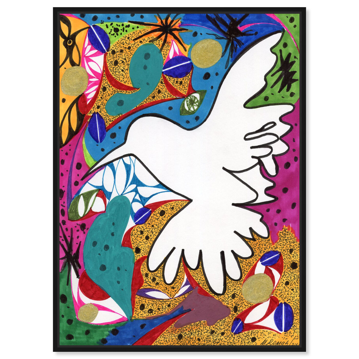 Front view of Hummingbird of Peace featuring abstract and shapes art.