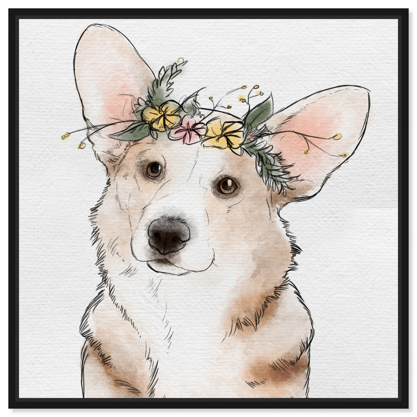 Front view of Floral Crown Corgi featuring animals and dogs and puppies art.