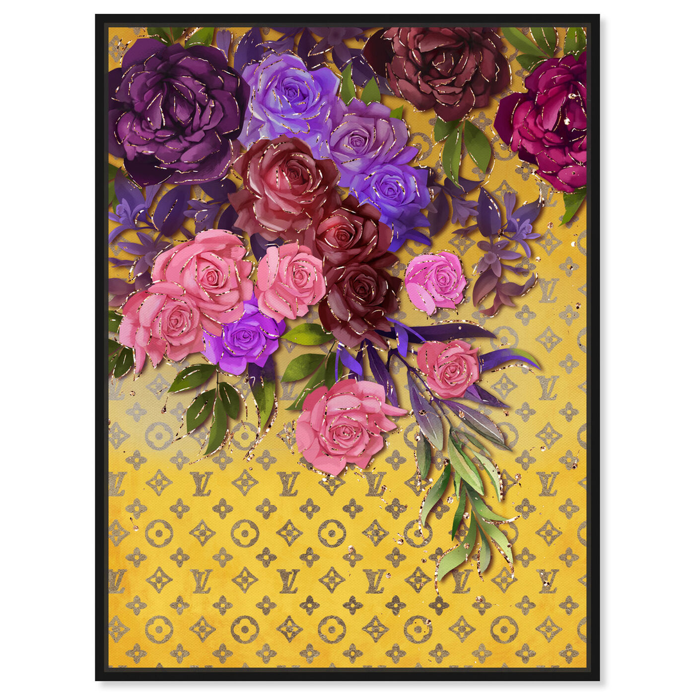 Front view of Roses Fashion Monogram featuring floral and botanical and florals art.