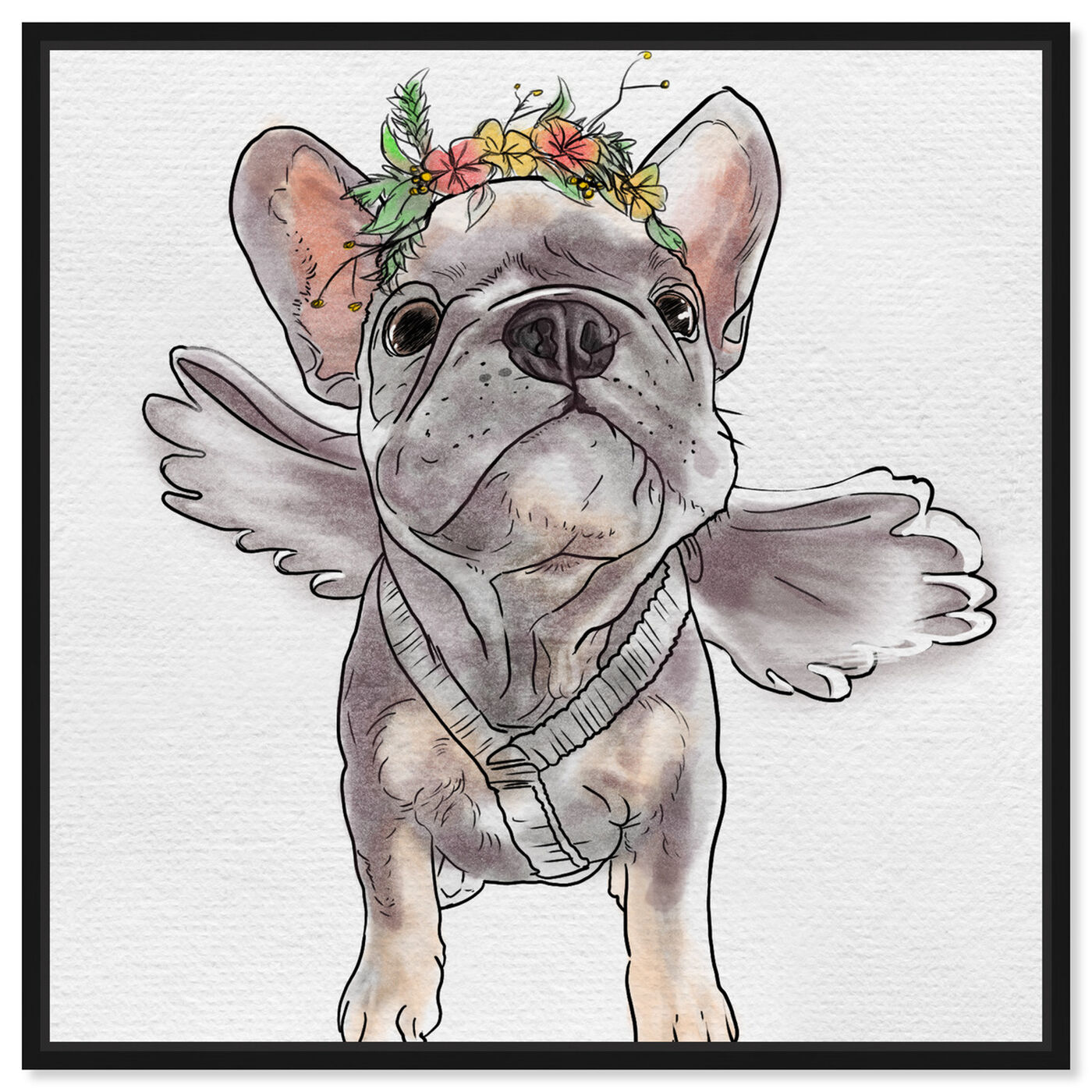 Front view of Frenchie Angel featuring animals and dogs and puppies art.