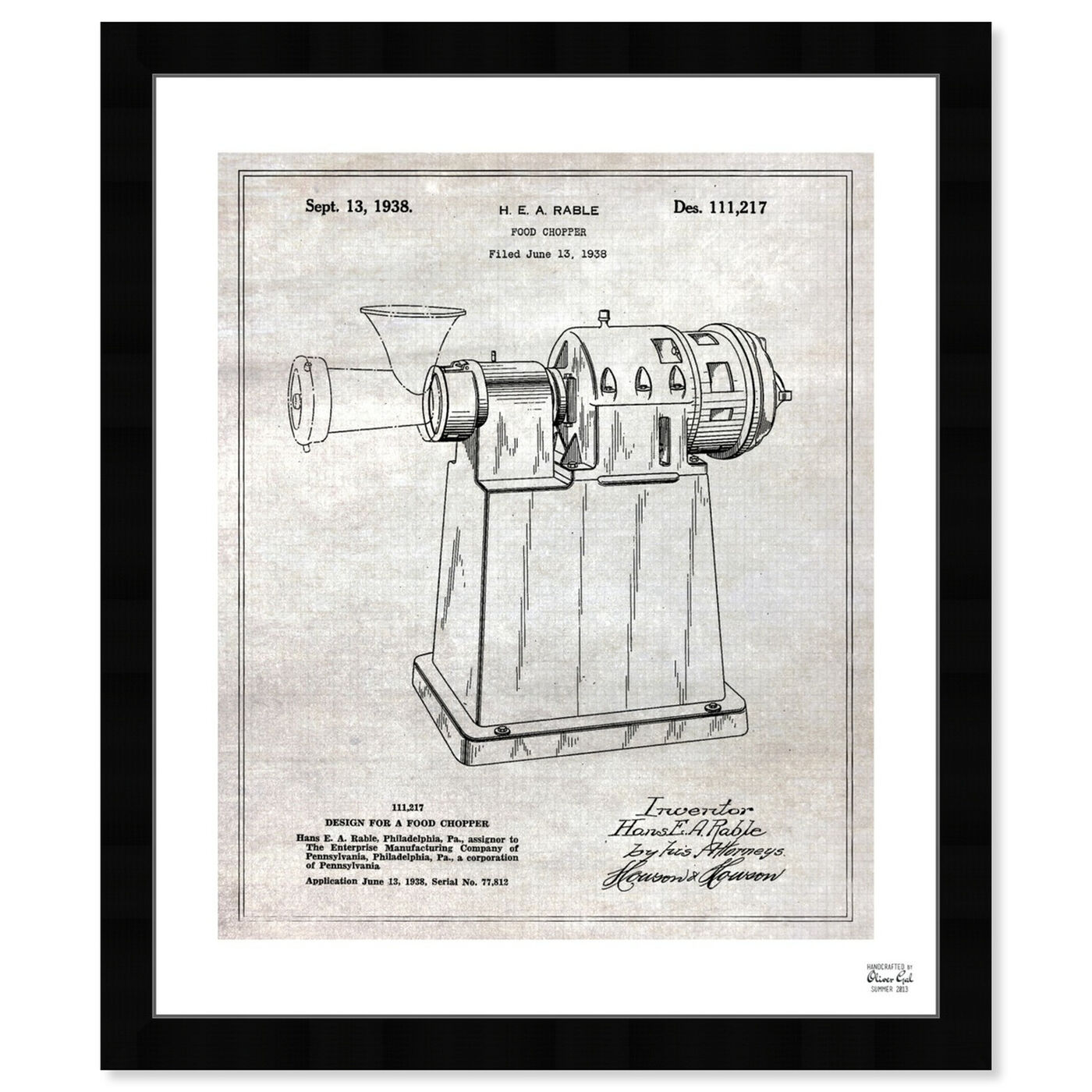 Front view of Design For A Food Chopper 1938 featuring food and cuisine and cooking and chef art.