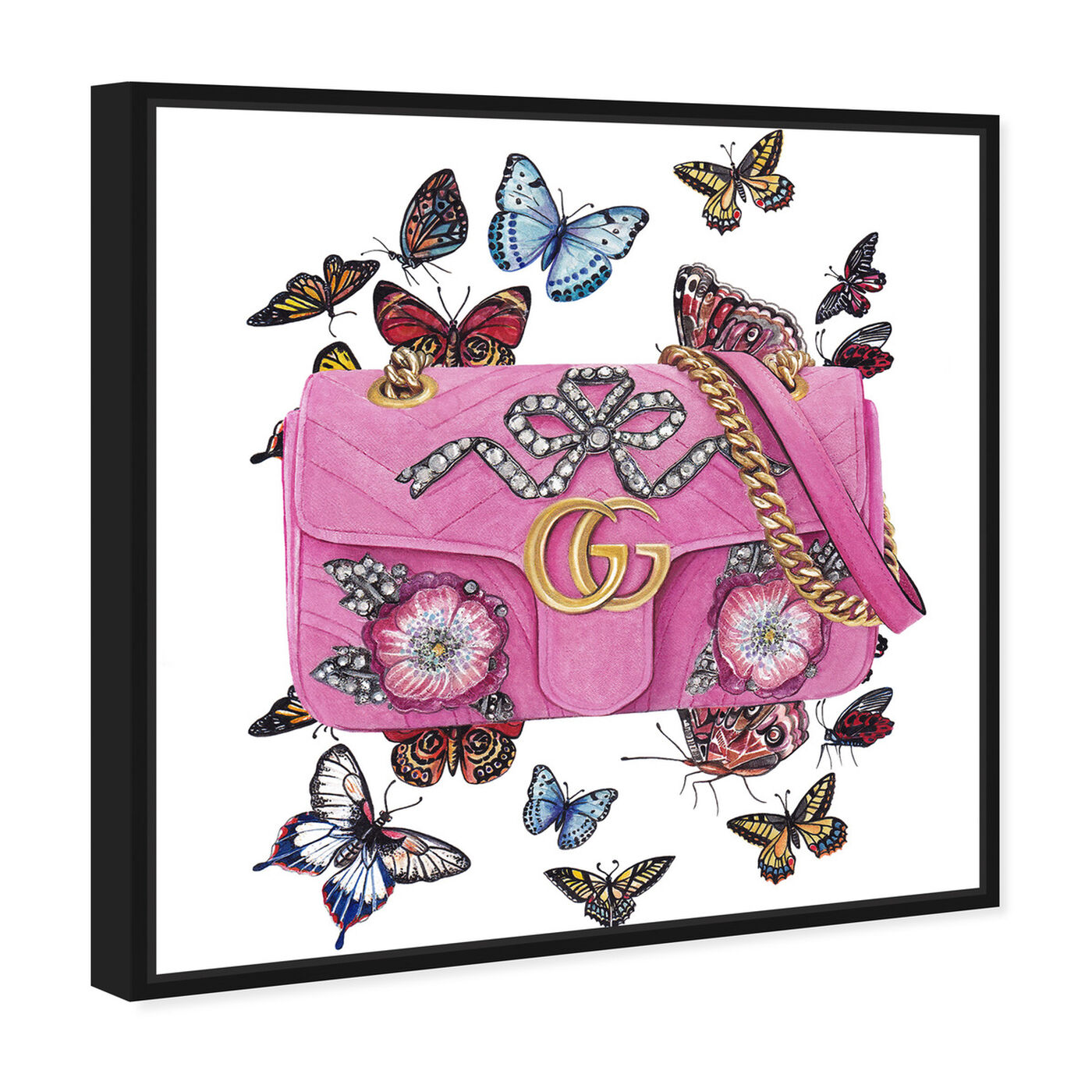 Angled view of Doll Memories - Butterfly Bag featuring fashion and glam and handbags art.