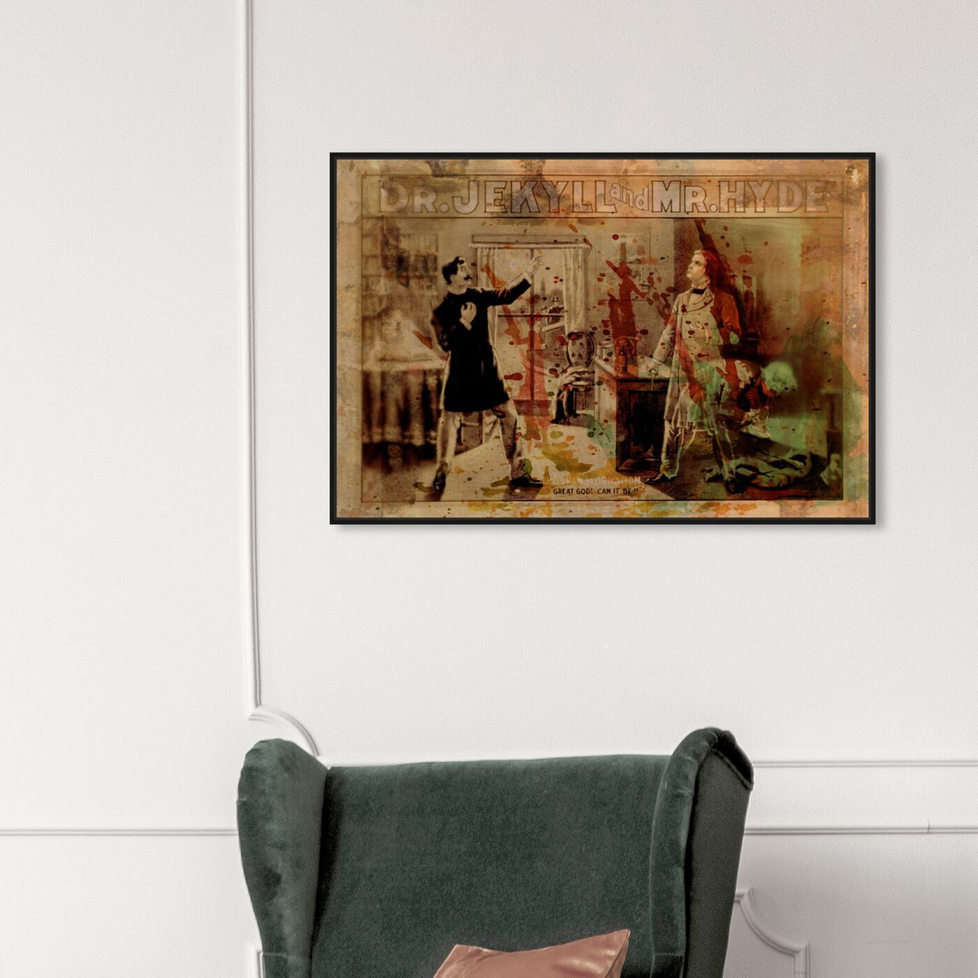Hanging view of Jekyll vs. Hyde featuring advertising and posters art.