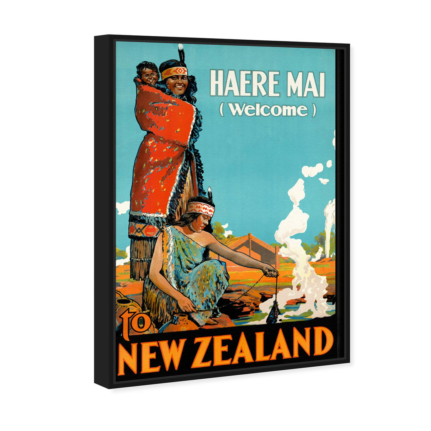 Angled view of New Zealand featuring advertising and posters art.