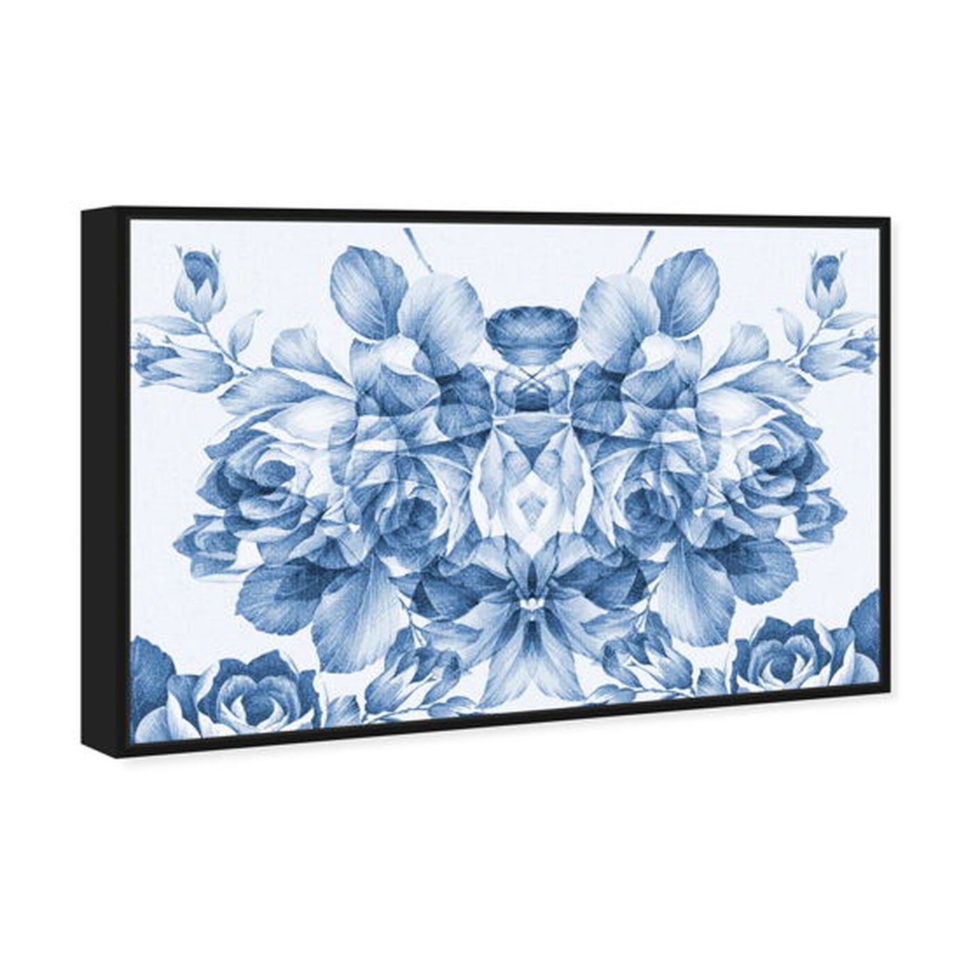Angled view of Floral Madness Blue featuring floral and botanical and florals art.