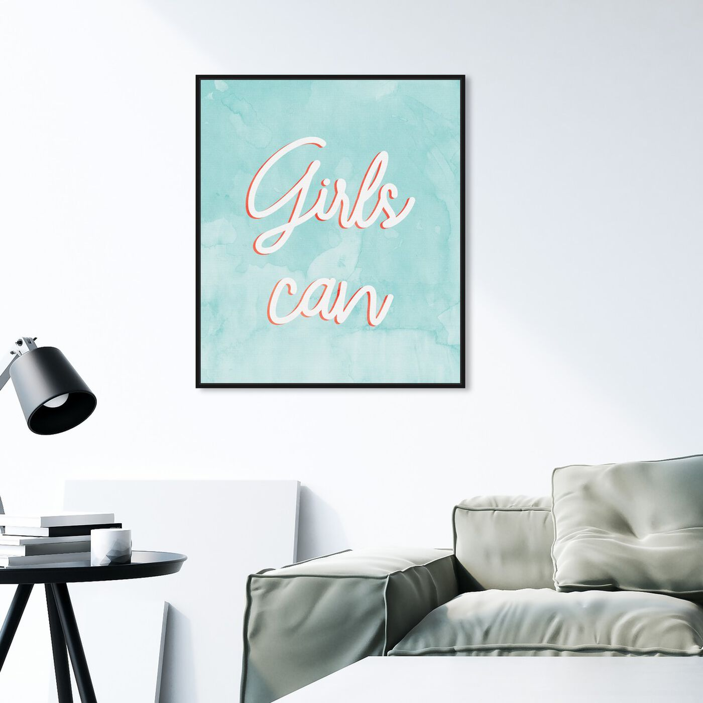 Hanging view of Girls Can Mint featuring typography and quotes and empowered women quotes and sayings art.