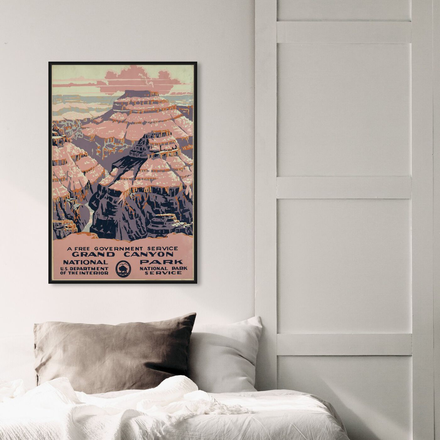 Hanging view of Grand Canyon featuring advertising and posters art.