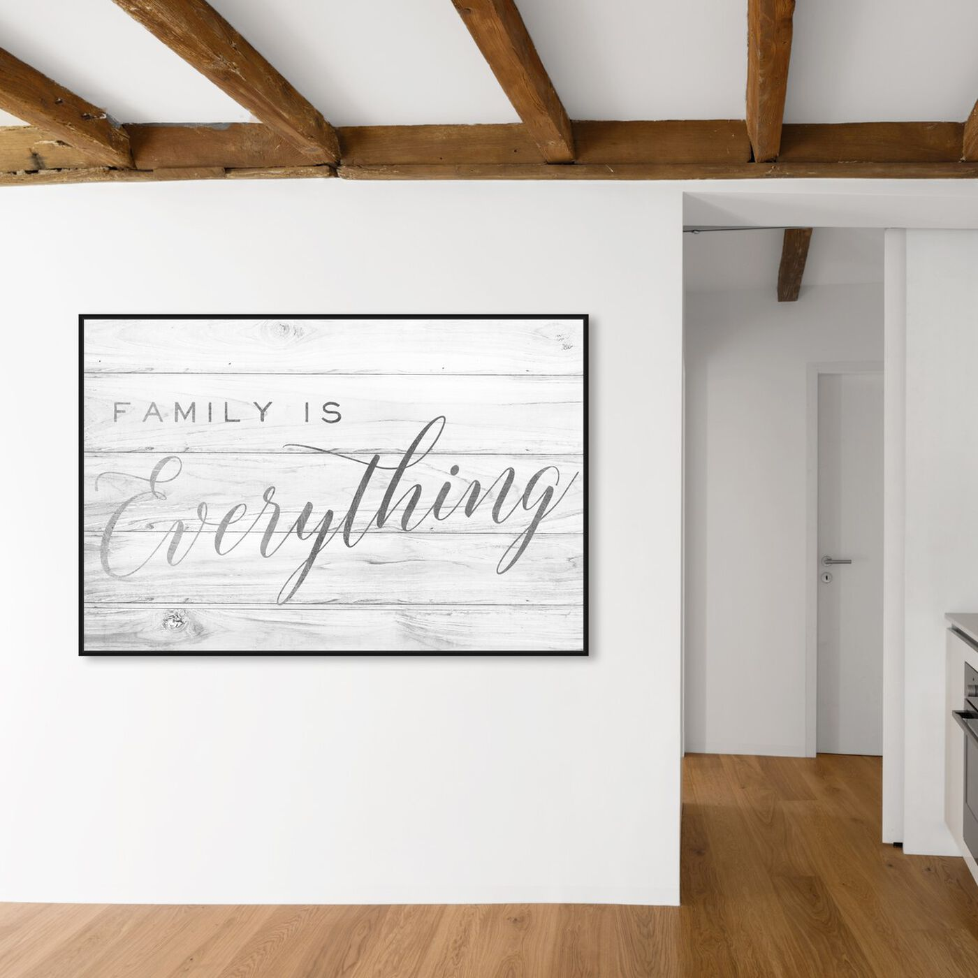 Hanging view of Family is Everything Silver featuring typography and quotes and family quotes and sayings art.