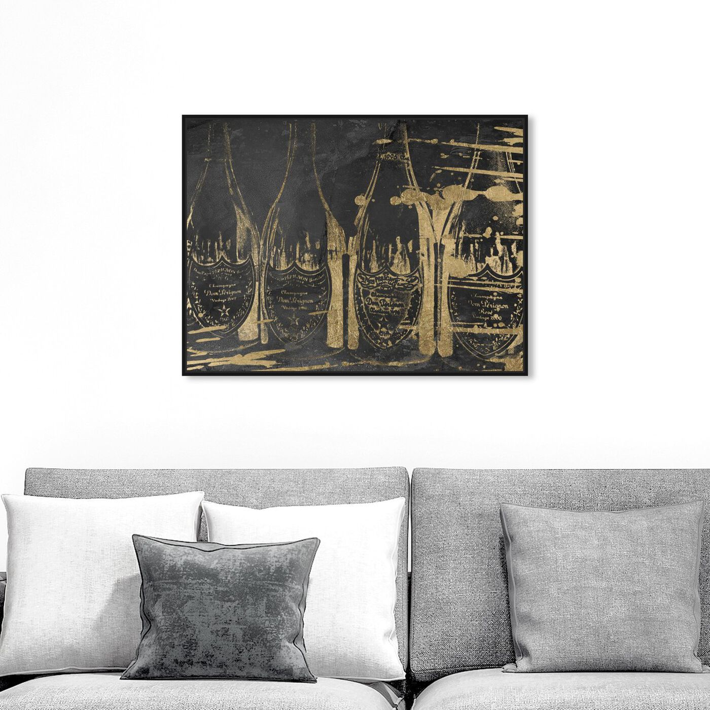Hanging view of Dom P Revised featuring drinks and spirits and champagne art.