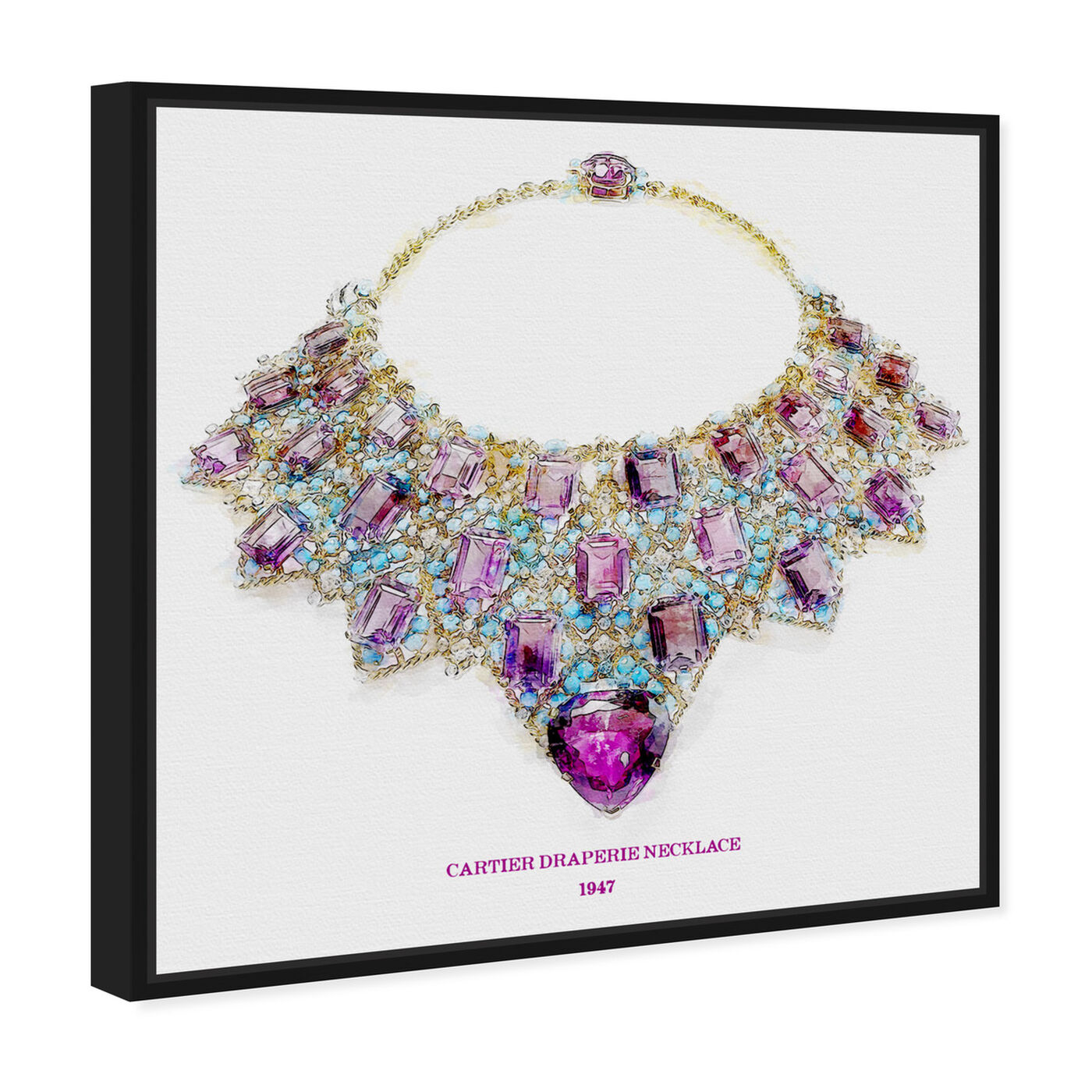 Angled view of Draperie Necklace 1947 featuring fashion and glam and jewelry art.