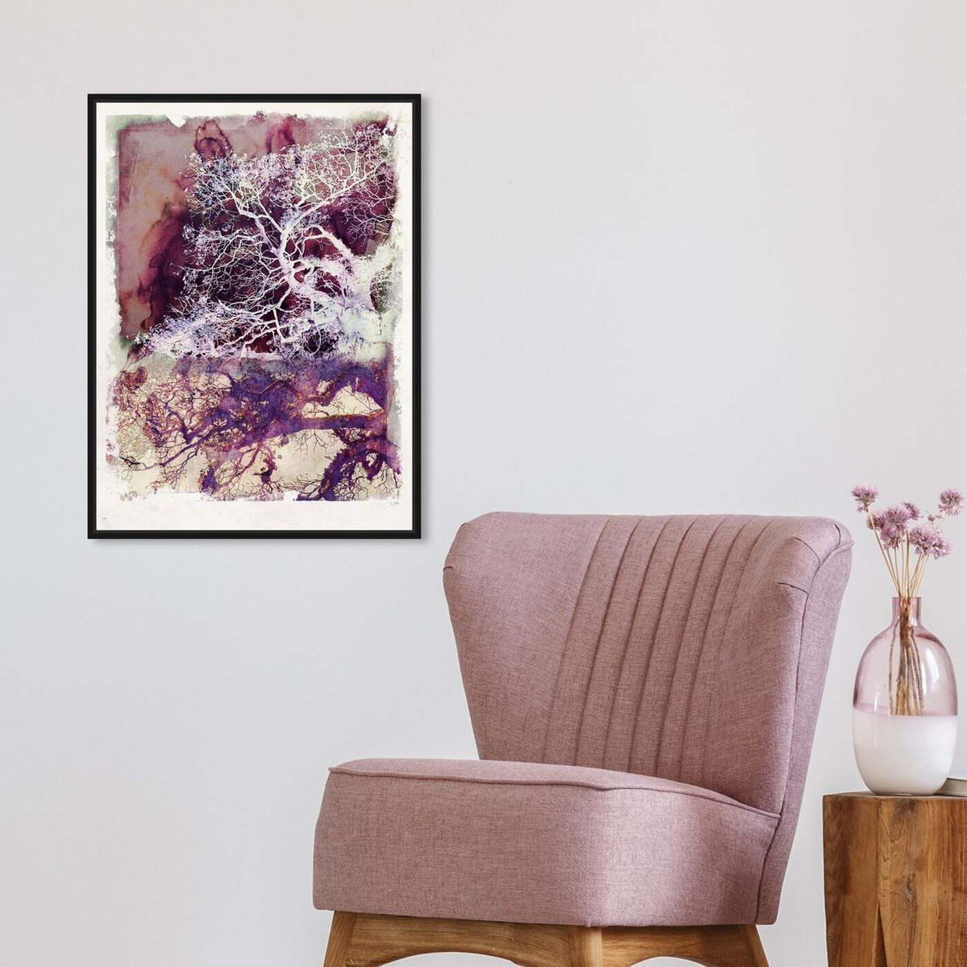Hanging view of Wanderer in Mauve featuring floral and botanical and trees art.