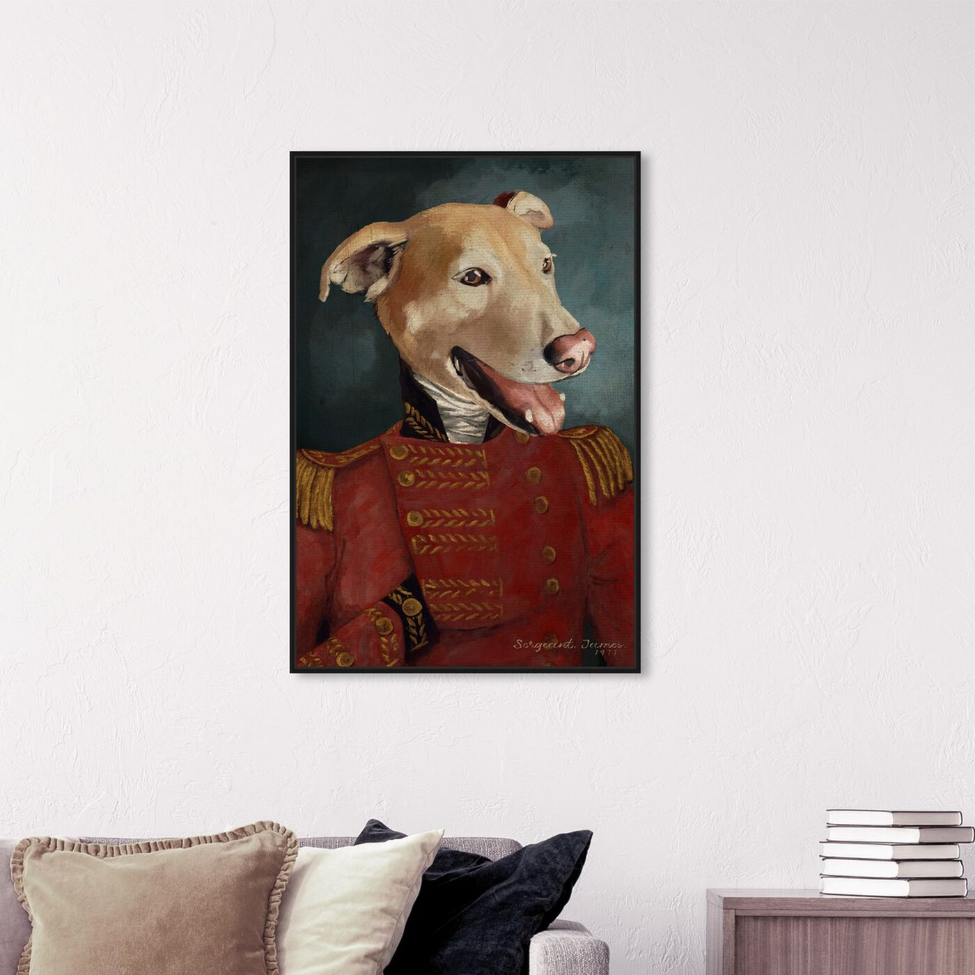 Hanging view of Dapper Sergeant featuring animals and dogs and puppies art.