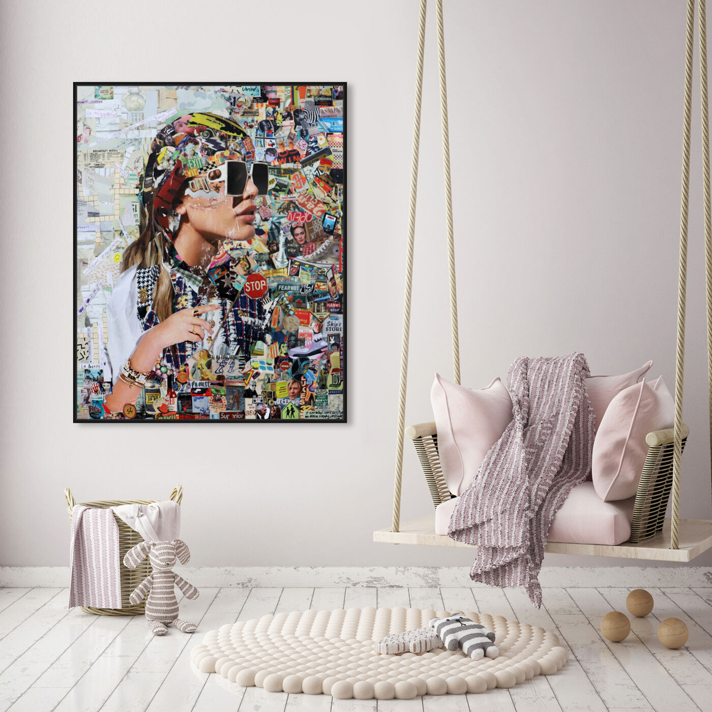 Hanging view of Katy Hirschfeld - Midtown Shades featuring fashion and glam and portraits art.