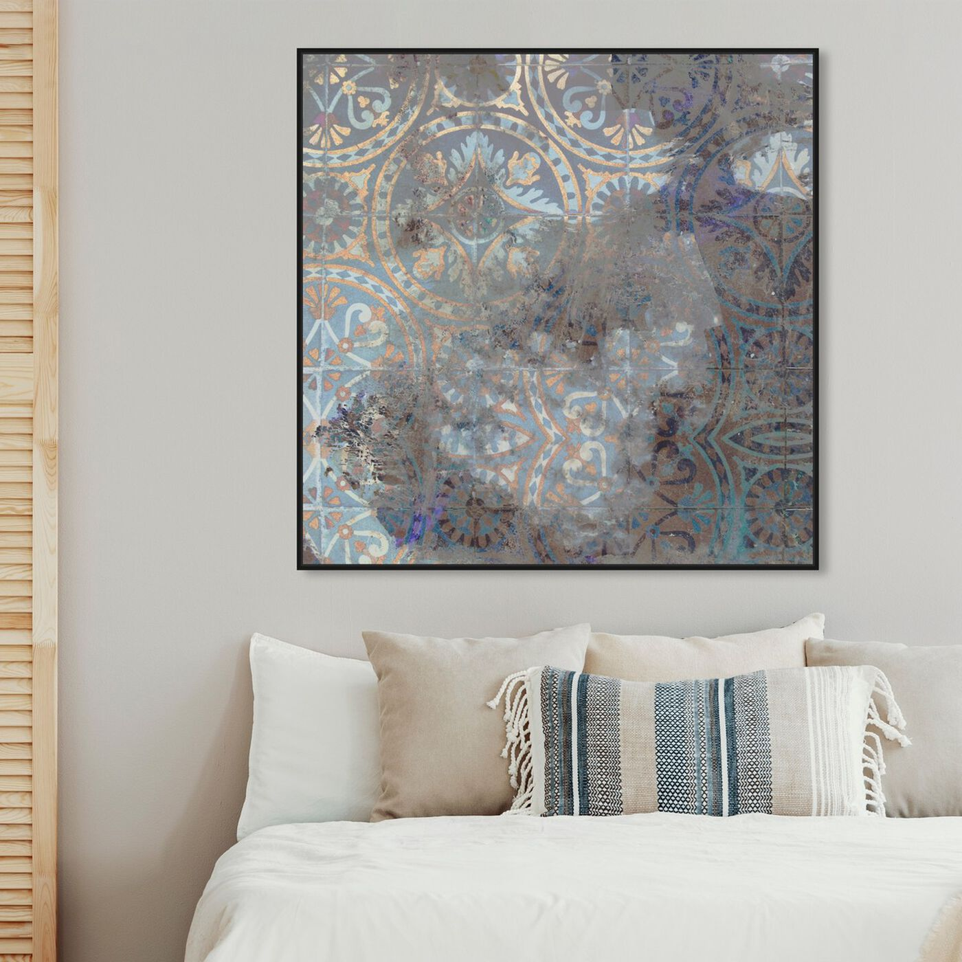 Hanging view of Rusted Geometrica featuring abstract and patterns art.