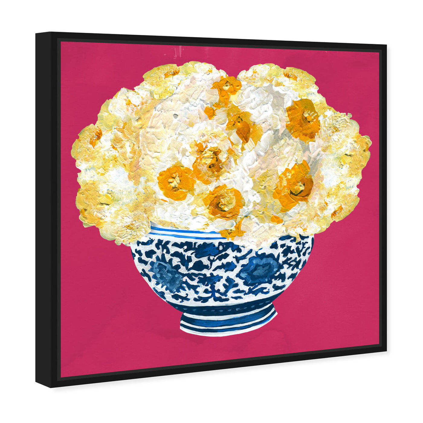 Angled view of Blue and Yellow Vase Magenta featuring floral and botanical and florals art.