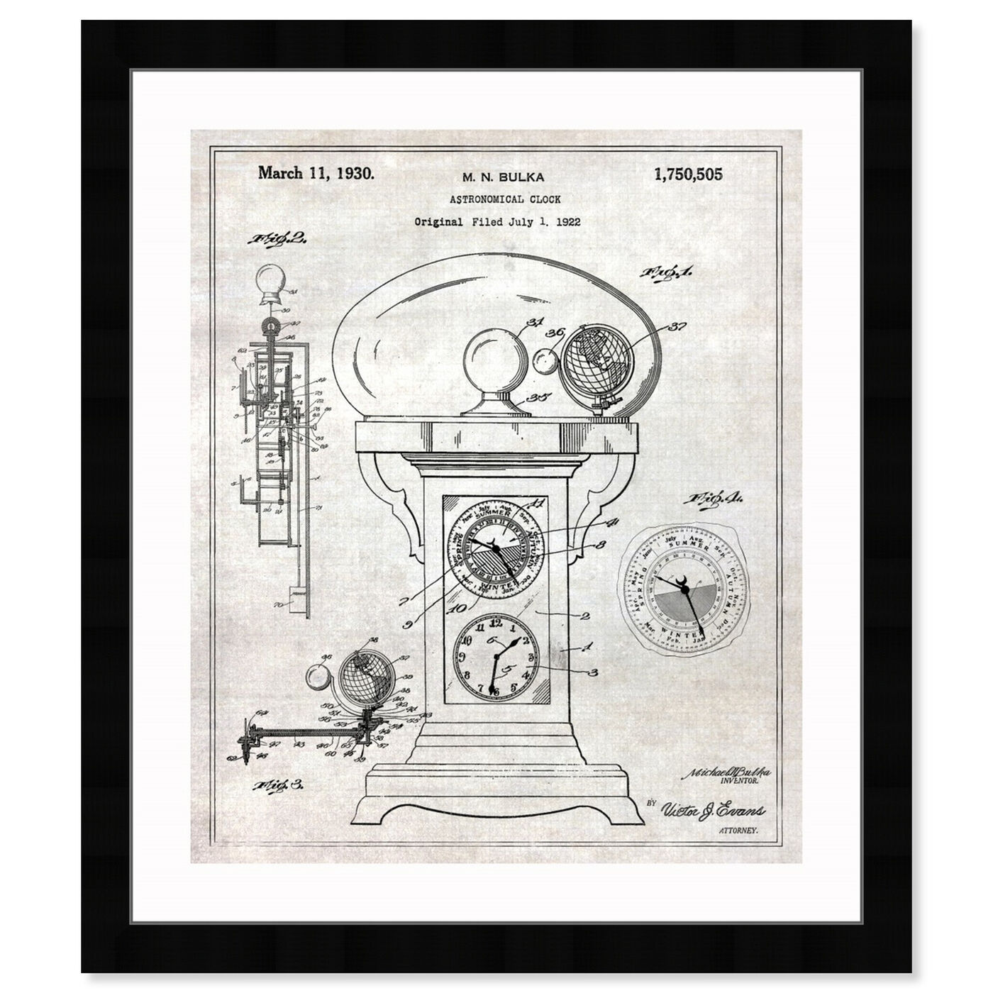 Front view of Astronomical Clock 1930 featuring astronomy and space and telescopes art.