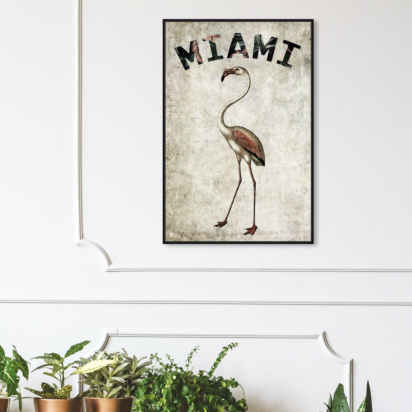 Hanging view of Miamian Flamingo featuring cities and skylines and united states cities art.