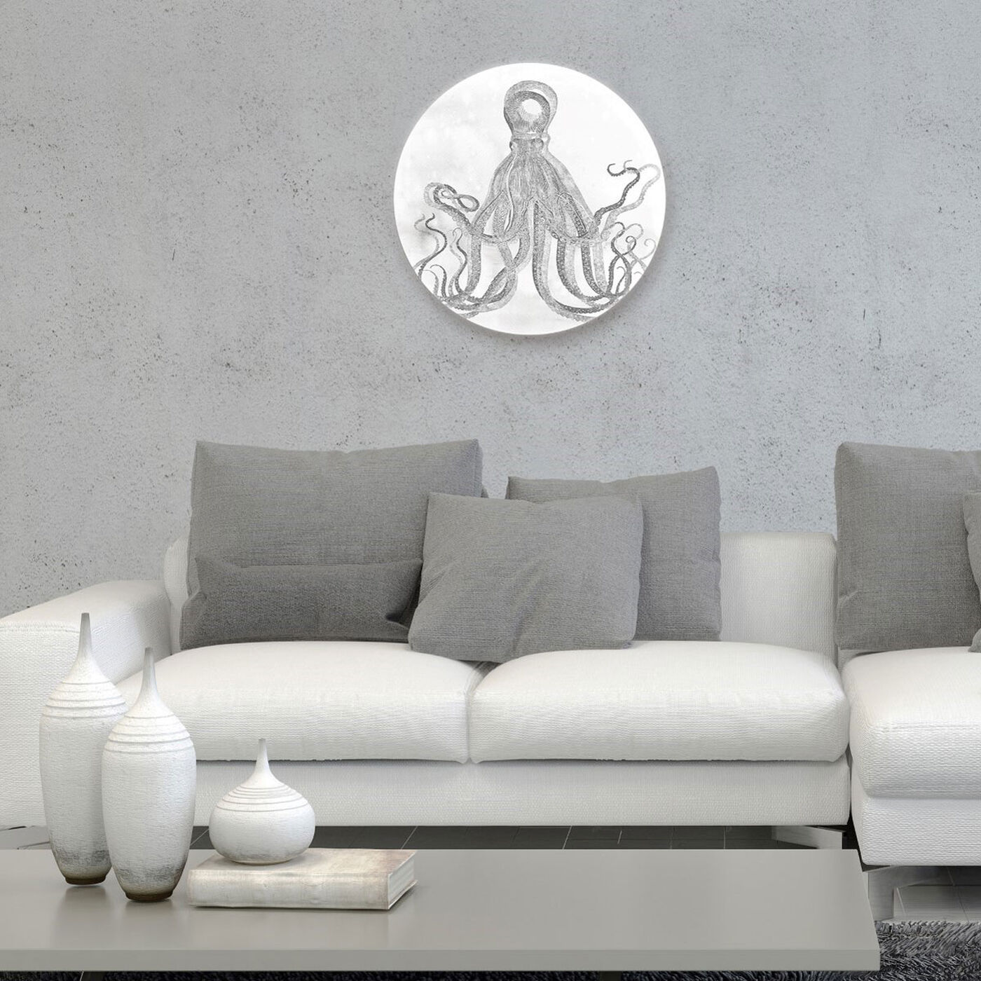 Hanging view of Octopus Watercolor Silver Circle featuring nautical and coastal and marine life art.