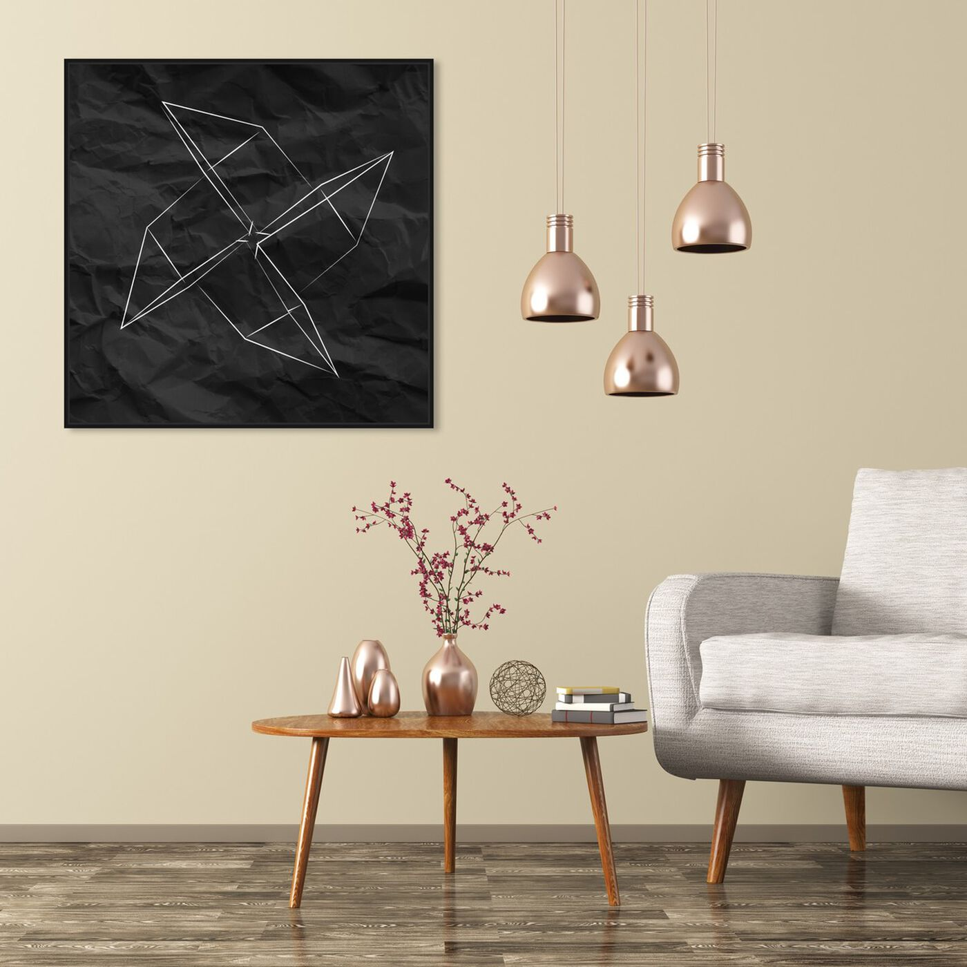 Hanging view of Origami Moulin featuring abstract and geometric art.