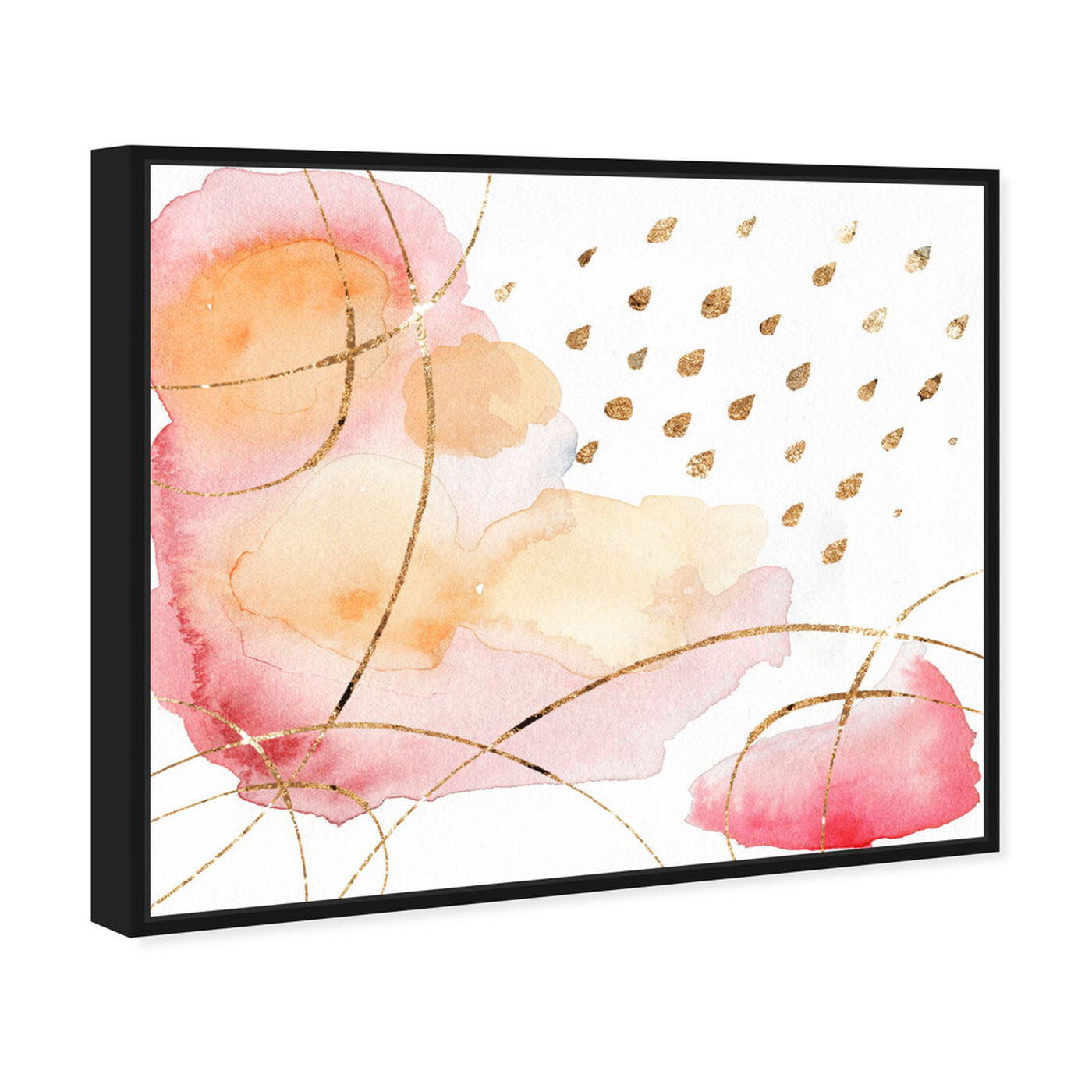 Angled view of Rain Or Shine Coral featuring abstract and watercolor art.