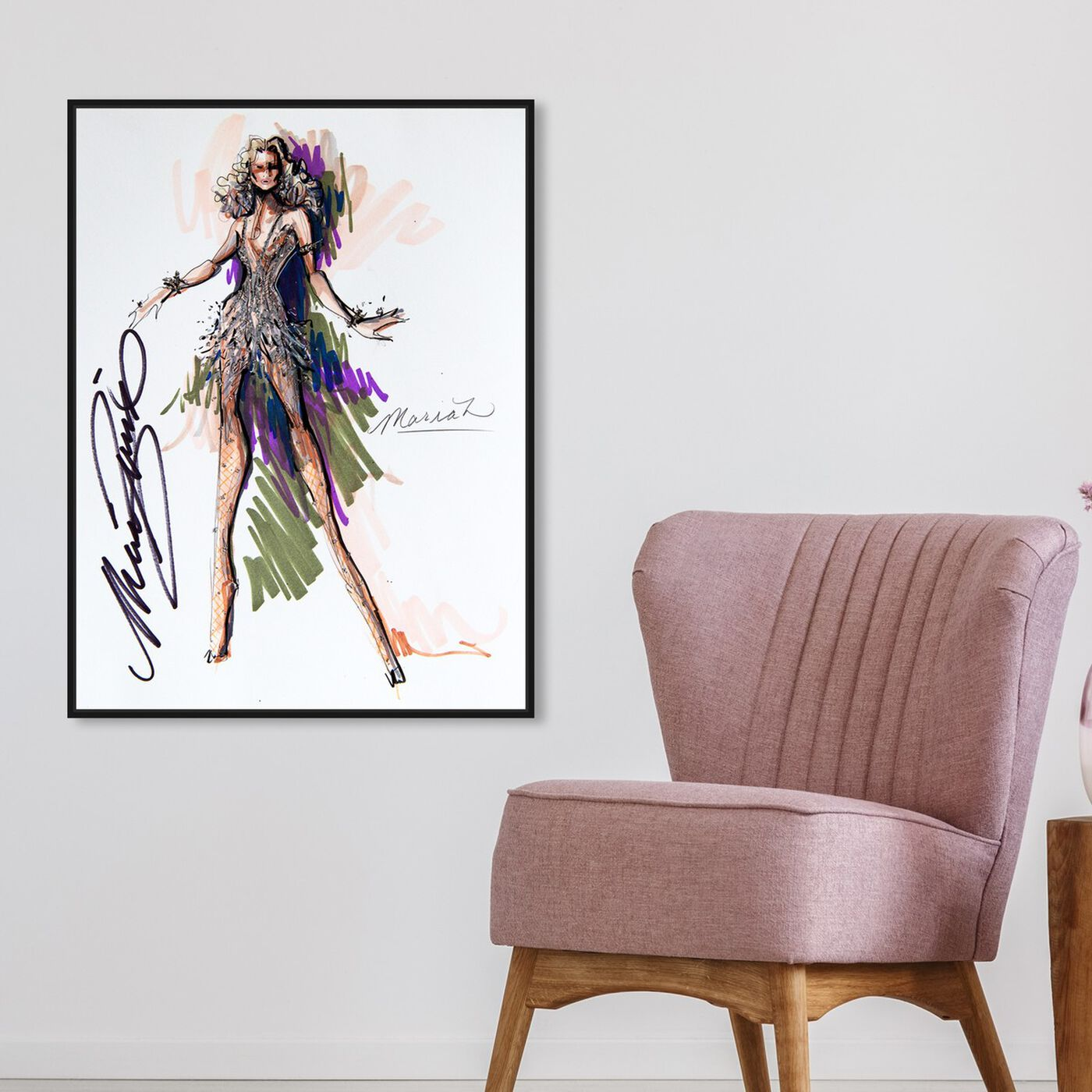 Hanging view of Mark Zunino - Queen M featuring fashion and glam and sketches art.