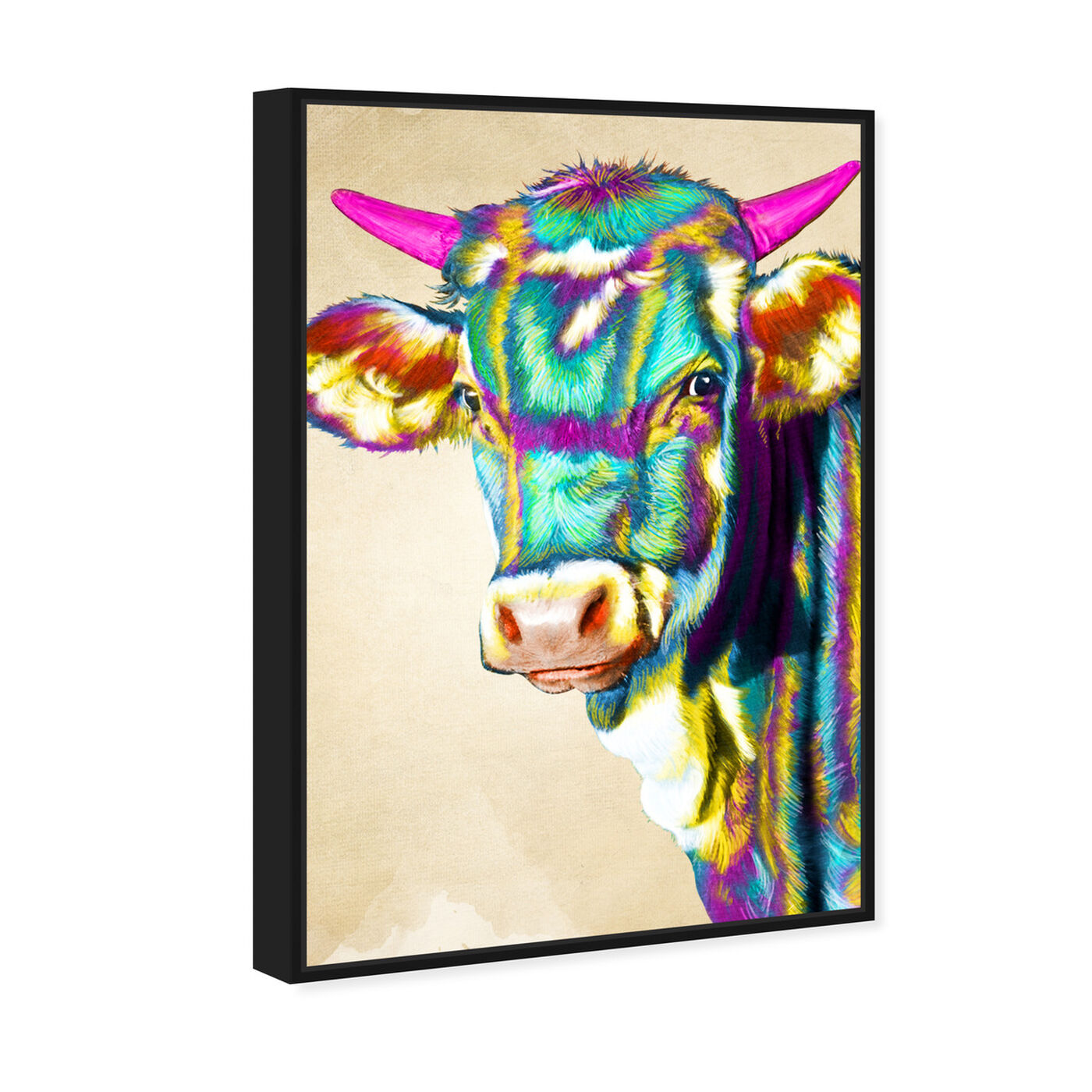 Angled view of Color Glam Cow featuring animals and farm animals art.