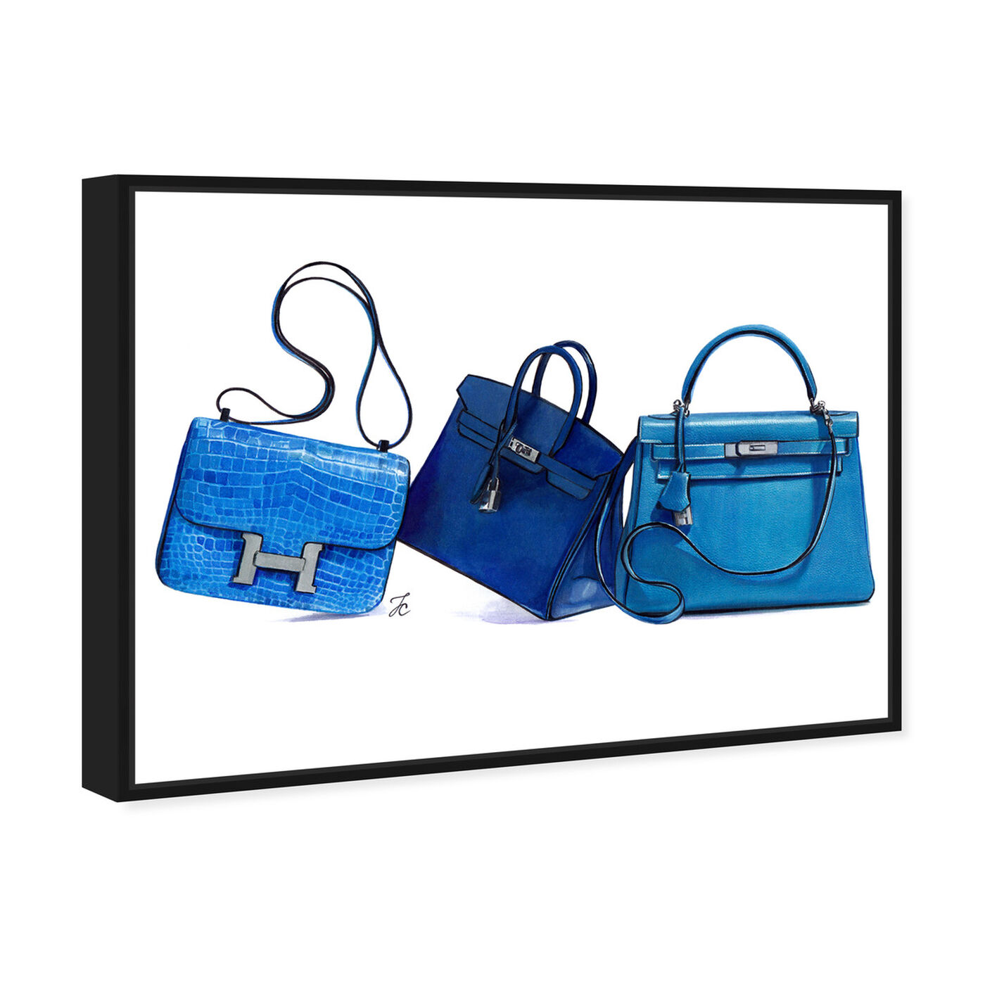 Angled view of Doll Memories - Blue Shades  I featuring fashion and glam and handbags art.
