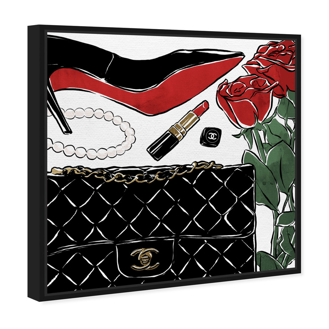 Angled view of Red Roses and Black Purses featuring fashion and glam and shoes art.