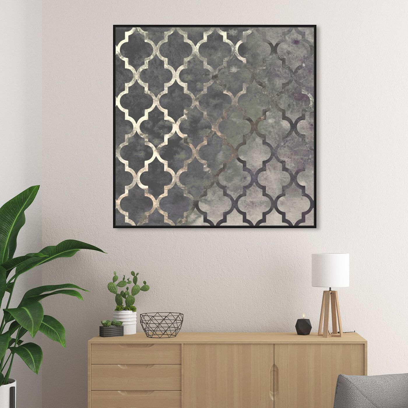 Hanging view of Arabesque Silver featuring abstract and patterns art.